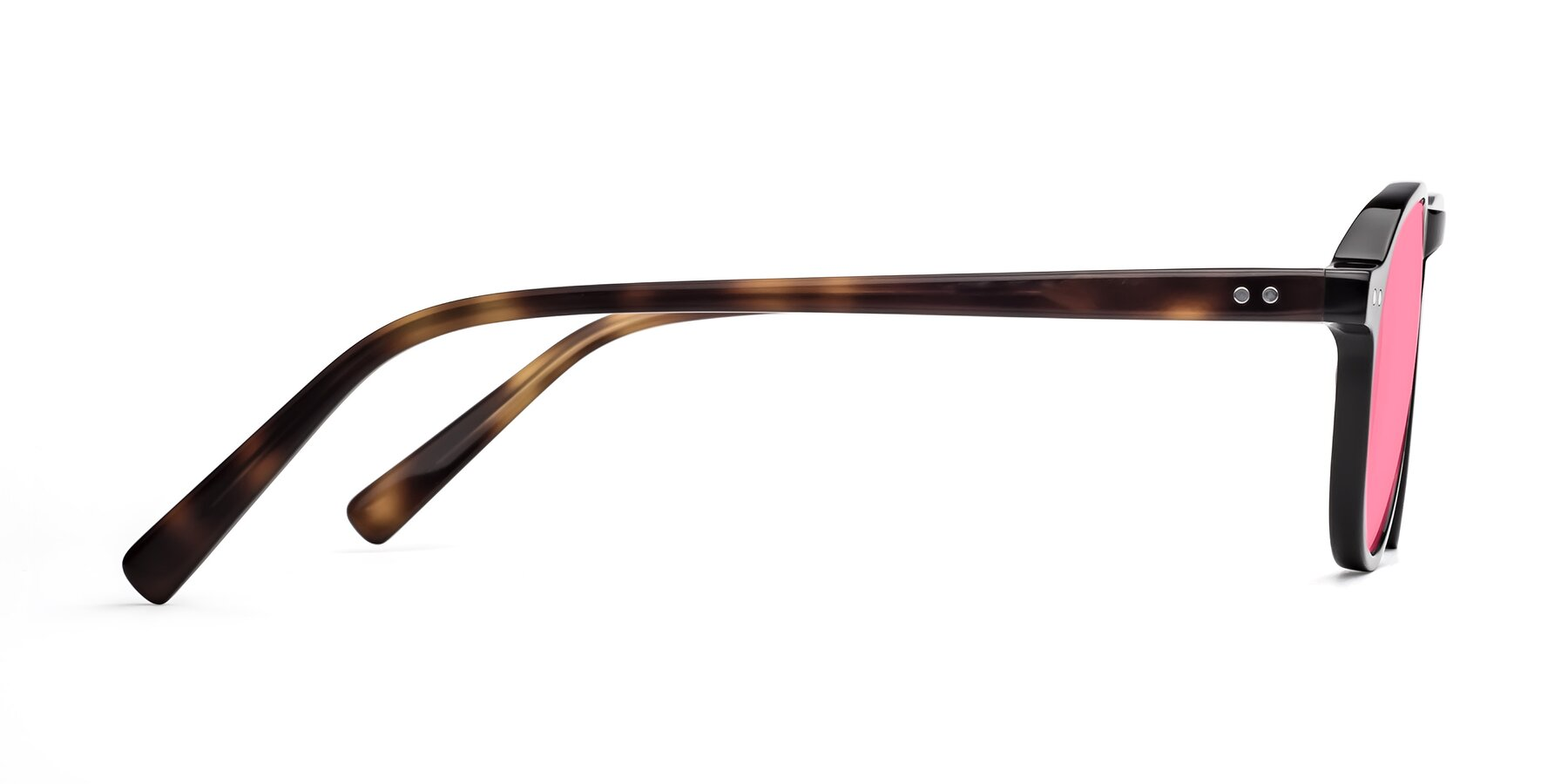 Side of 17544 in Black-Tortoise with Pink Tinted Lenses