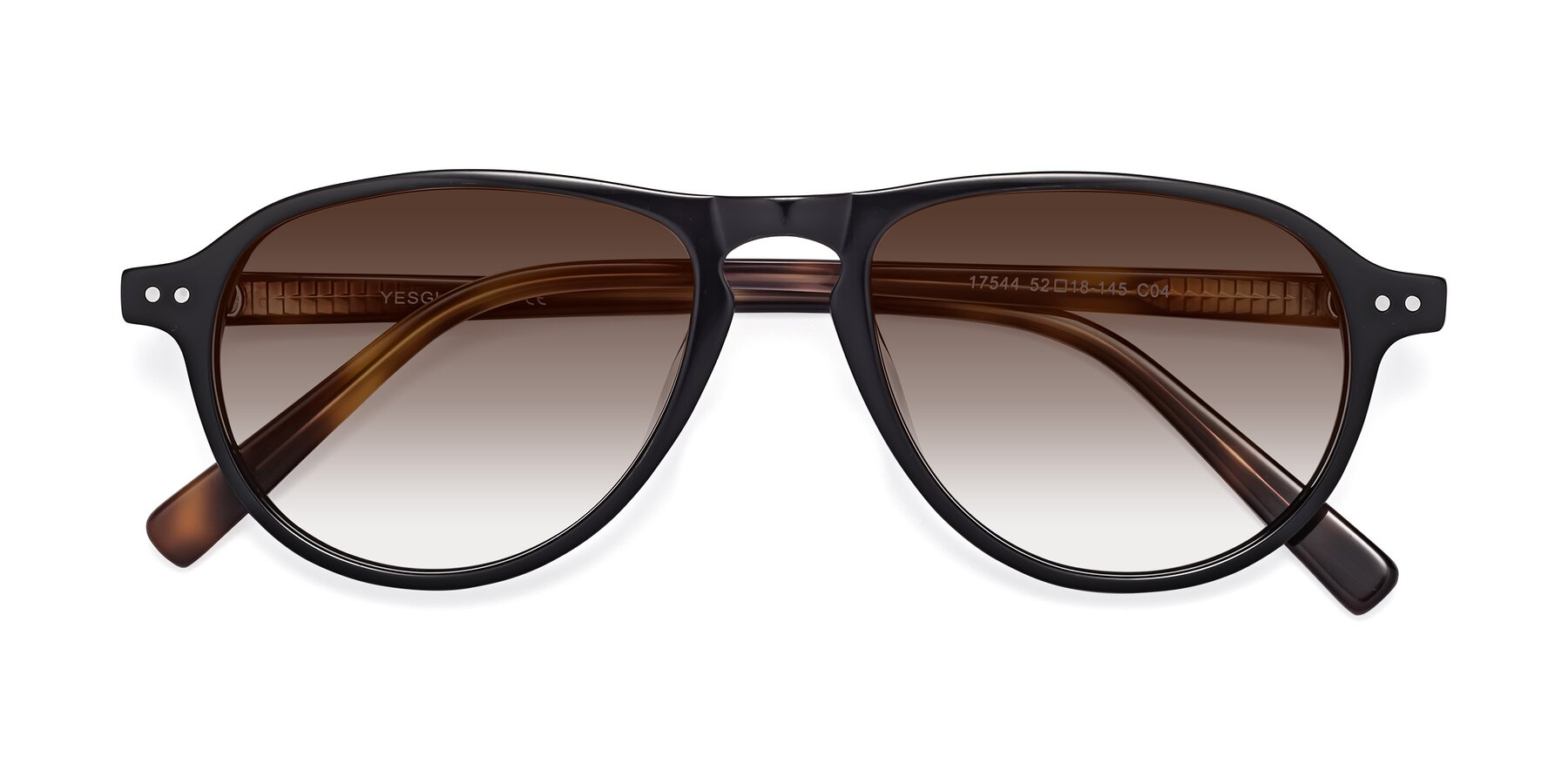 Folded Front of 17544 in Black-Tortoise with Brown Gradient Lenses