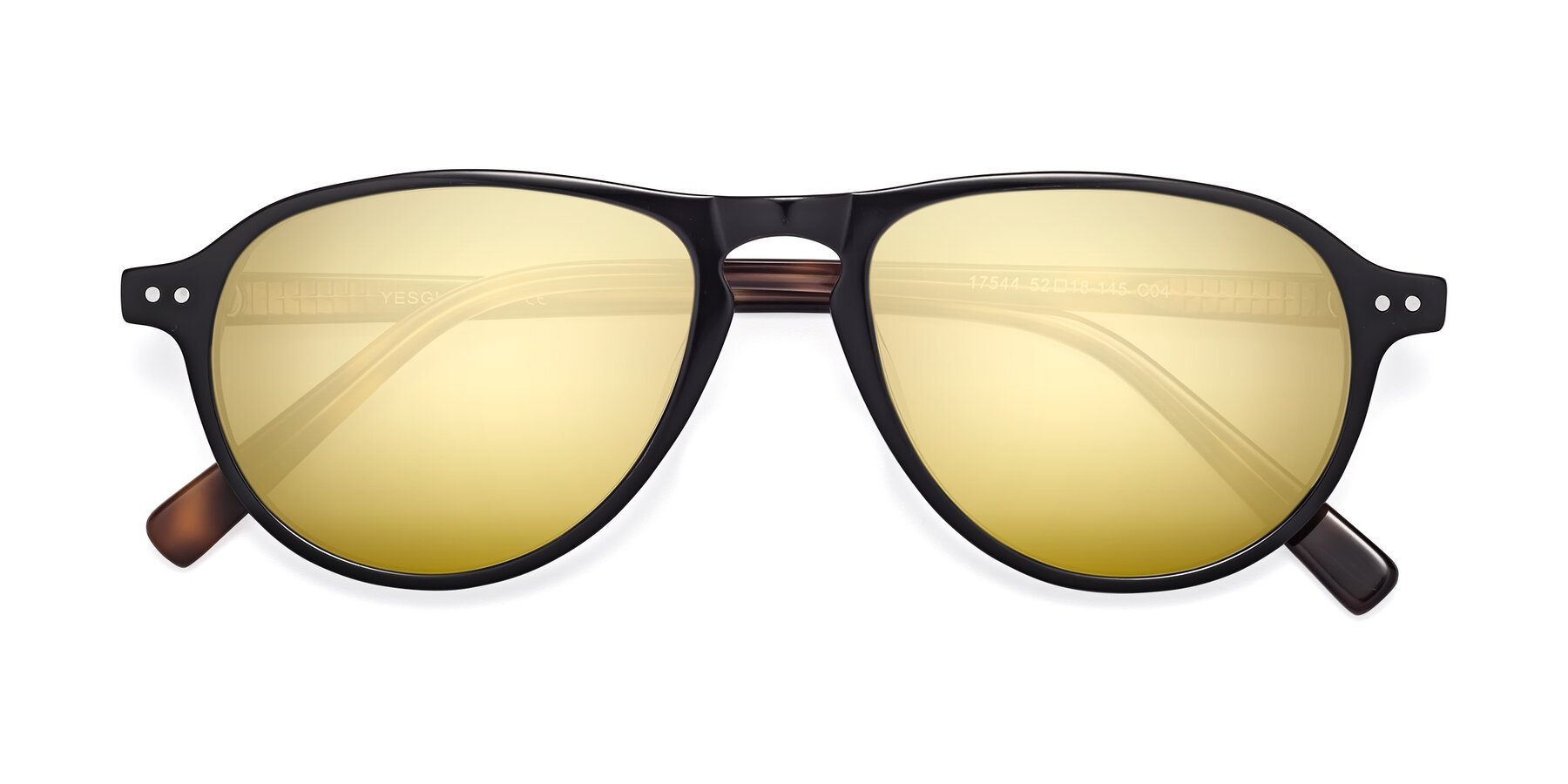 Folded Front of 17544 in Black-Tortoise with Gold Mirrored Lenses