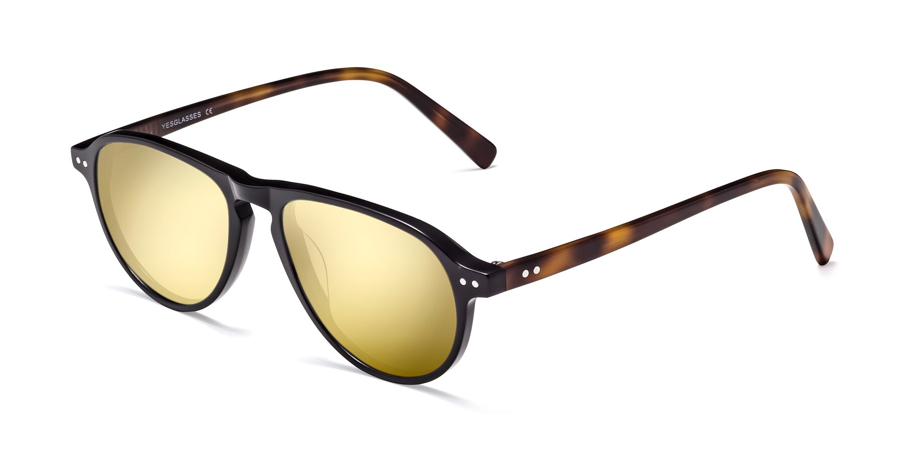Angle of 17544 in Black-Tortoise with Gold Mirrored Lenses