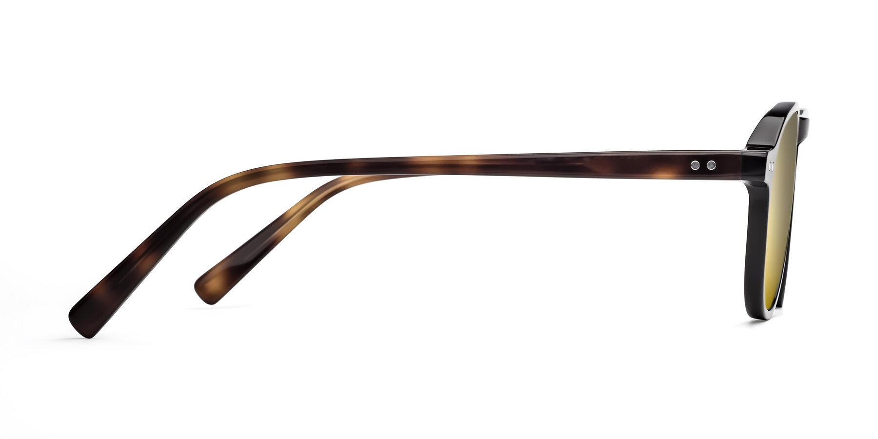 Side of 17544 in Black-Tortoise with Gold Mirrored Lenses