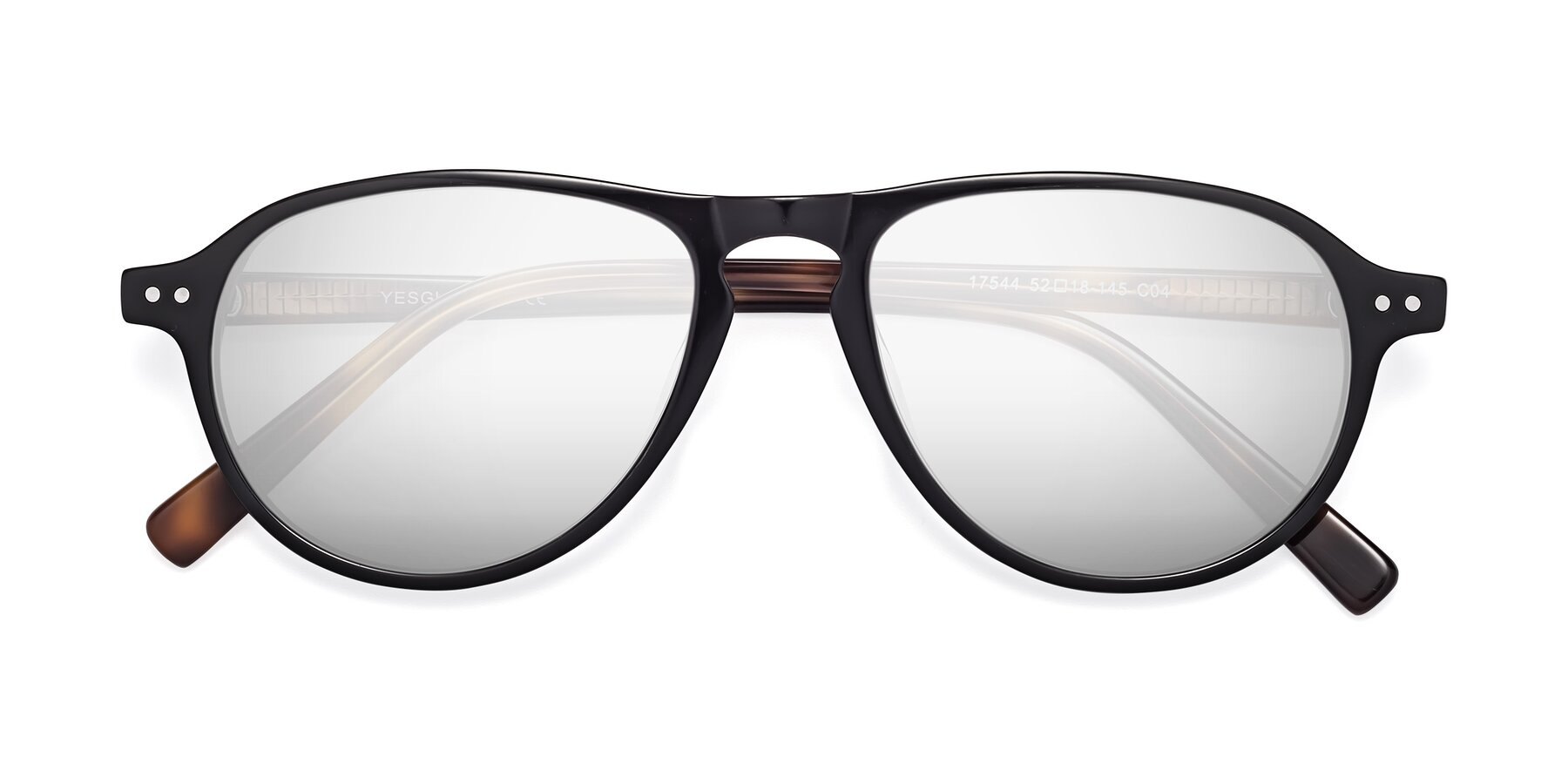 Folded Front of 17544 in Black-Tortoise with Silver Mirrored Lenses