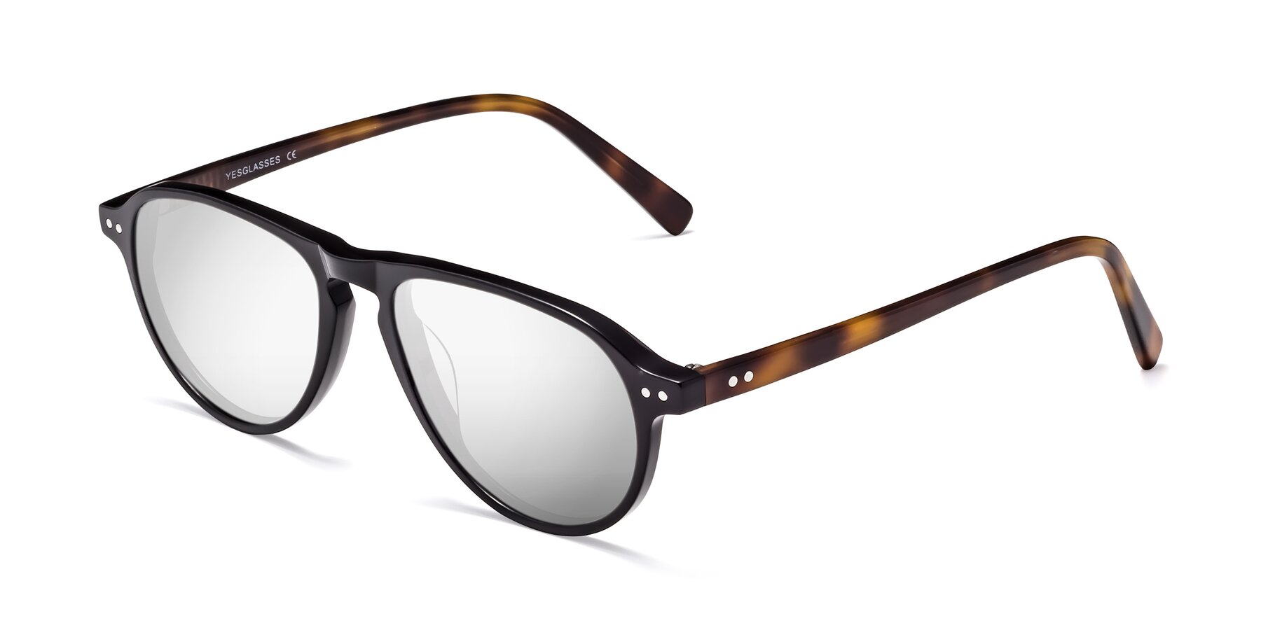 Angle of 17544 in Black-Tortoise with Silver Mirrored Lenses