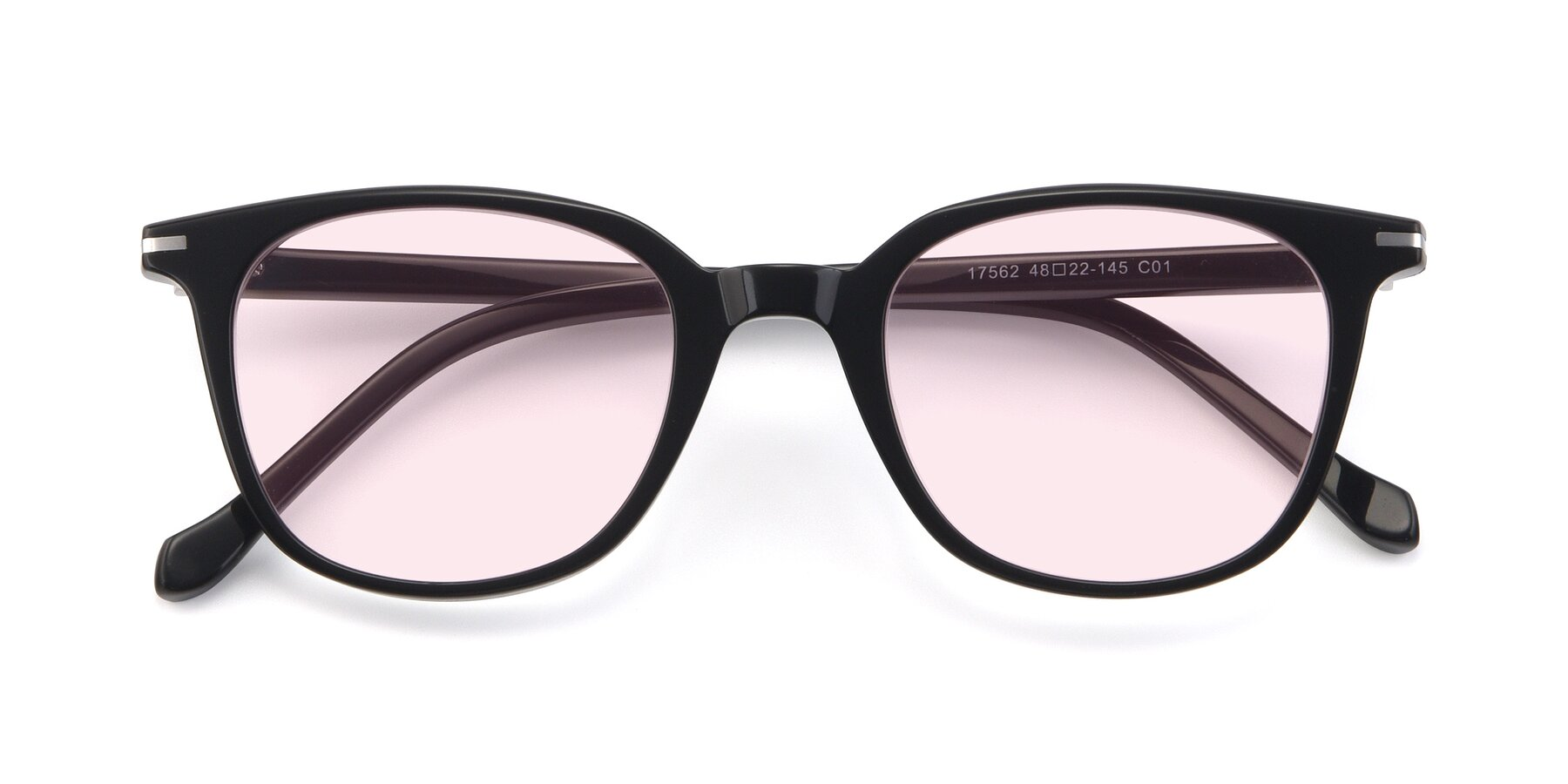 Folded Front of 17562 in Black with Light Pink Tinted Lenses