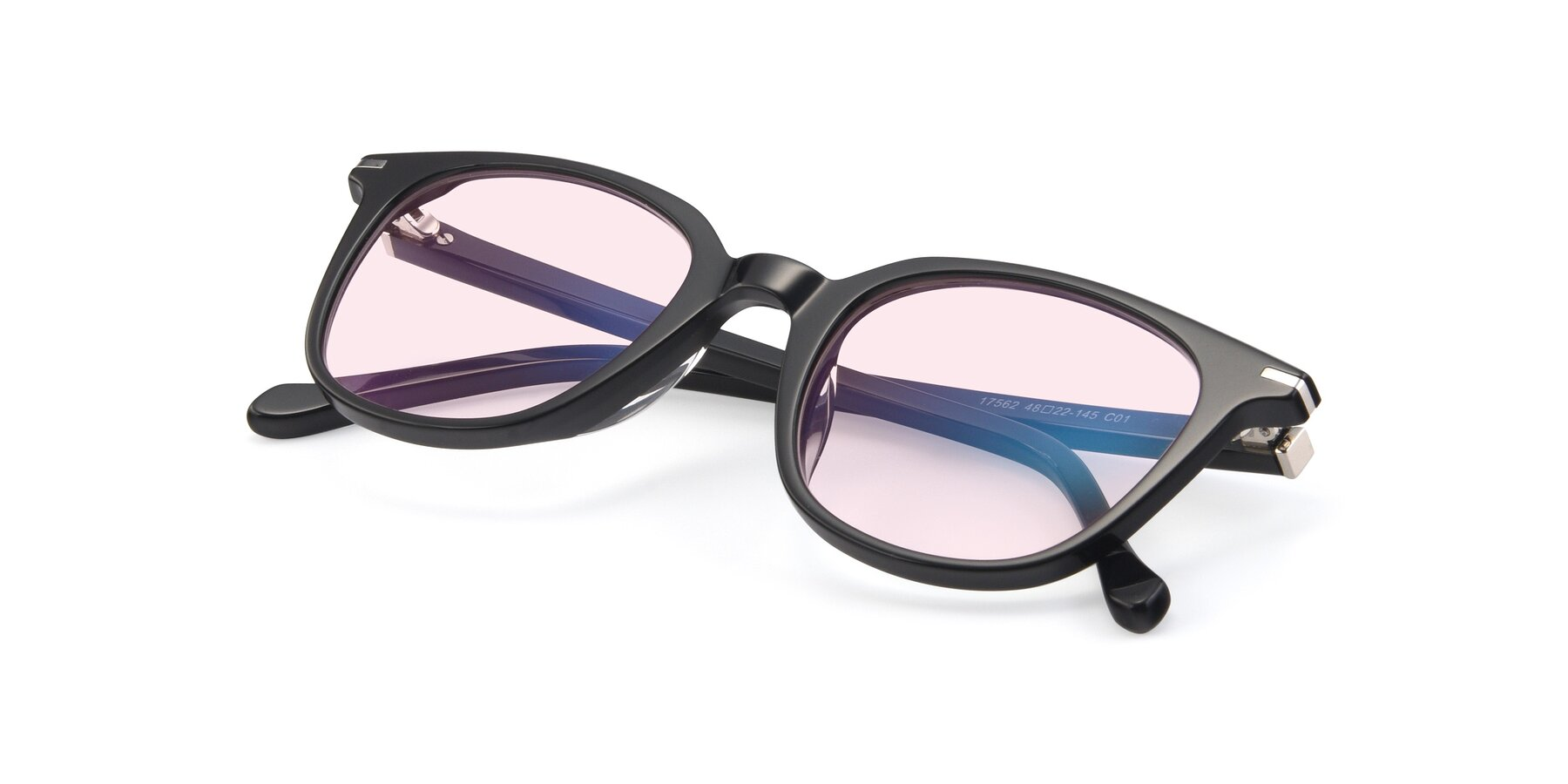 View of 17562 in Black with Light Pink Tinted Lenses