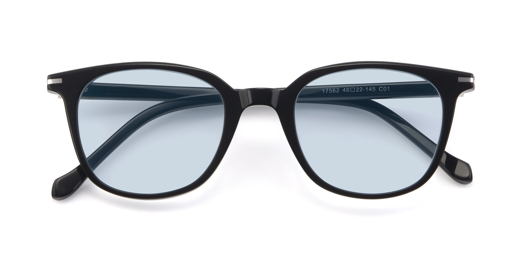 Folded Front of 17562 in Black with Light Blue Tinted Lenses