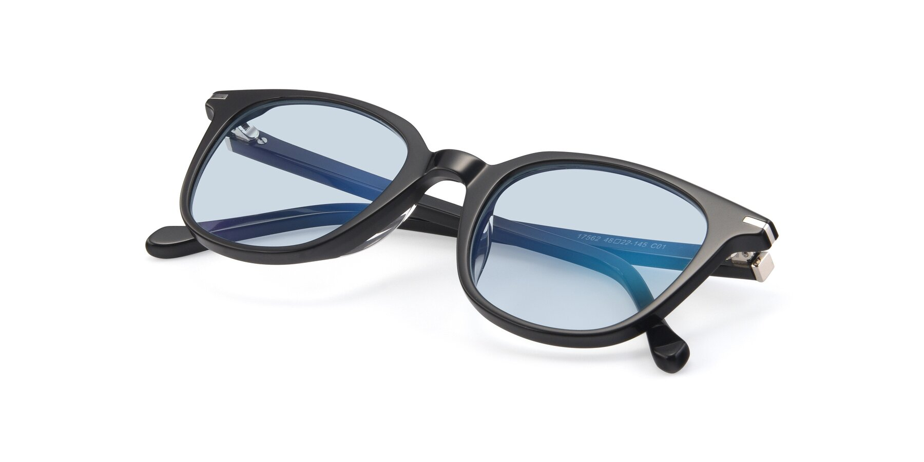 View of 17562 in Black with Light Blue Tinted Lenses