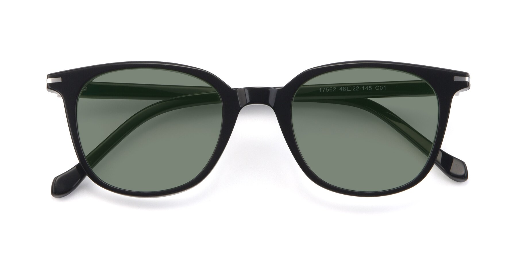 Folded Front of 17562 in Black with Medium Green Tinted Lenses
