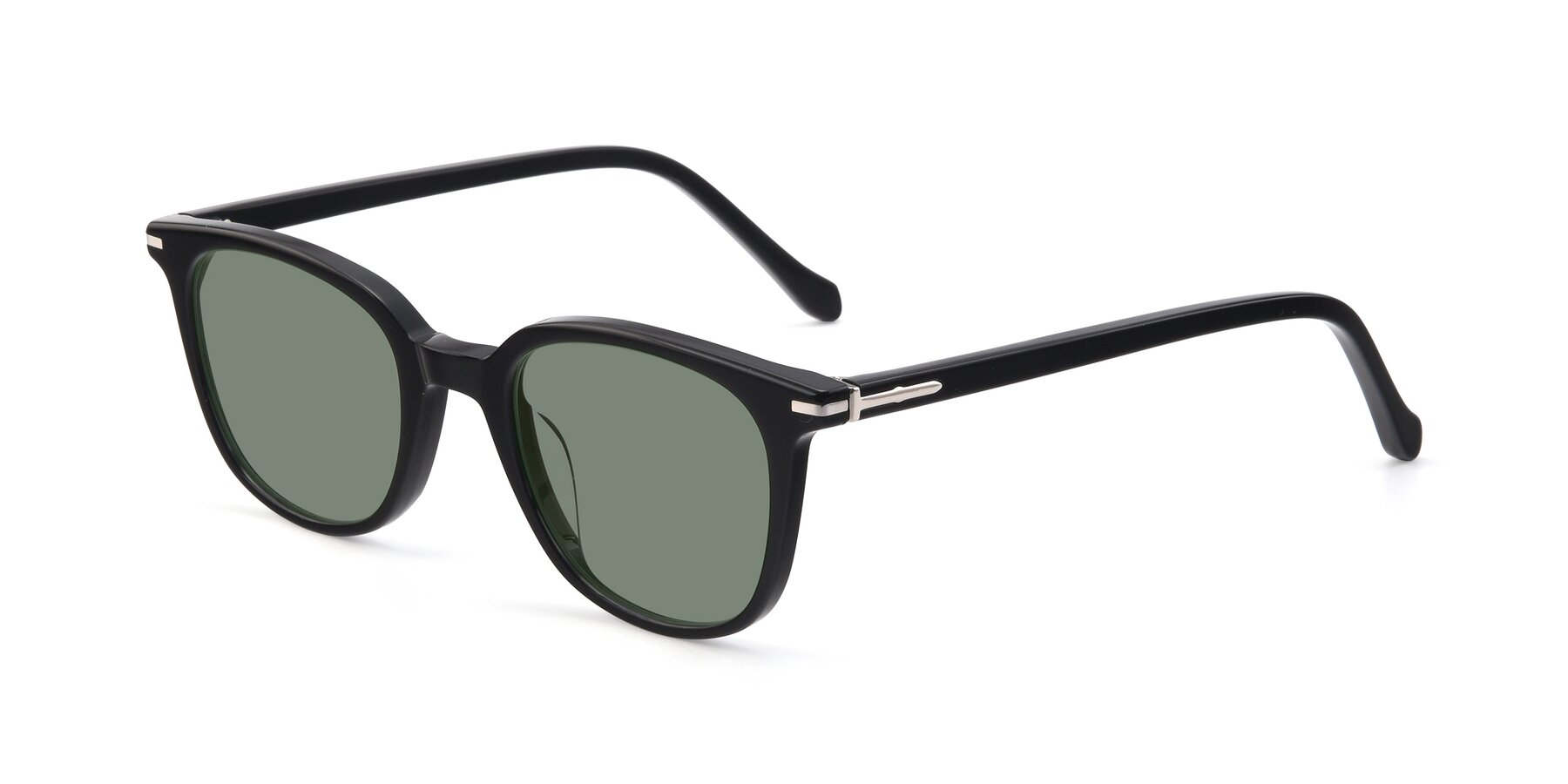 Angle of 17562 in Black with Medium Green Tinted Lenses