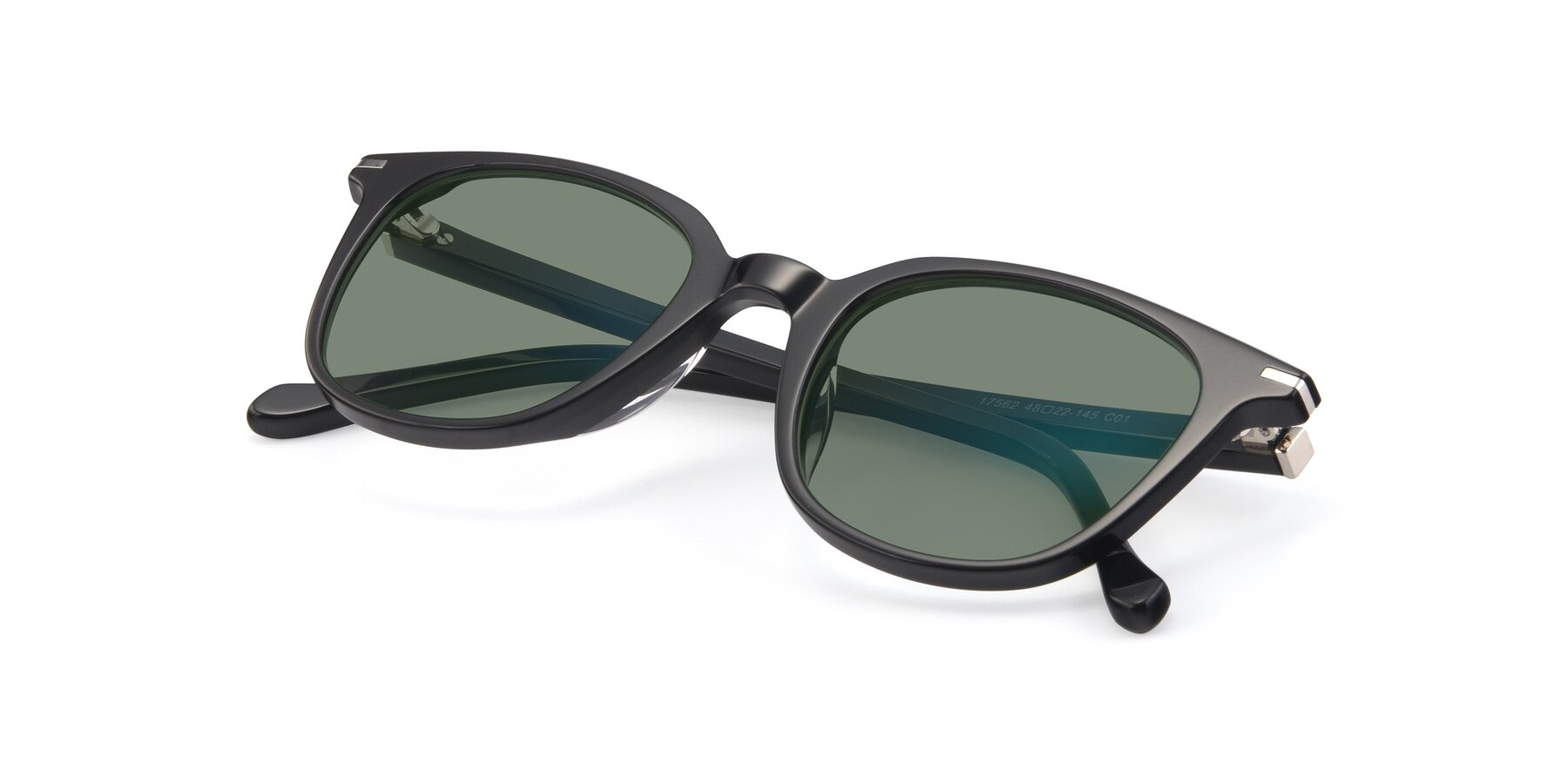 View of 17562 in Black with Medium Green Tinted Lenses