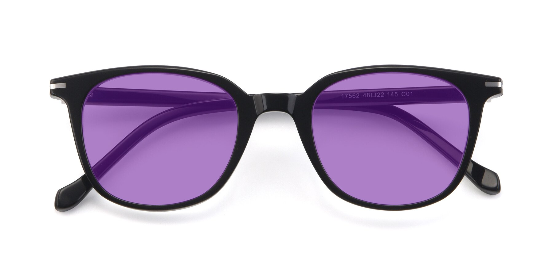 Folded Front of 17562 in Black with Medium Purple Tinted Lenses