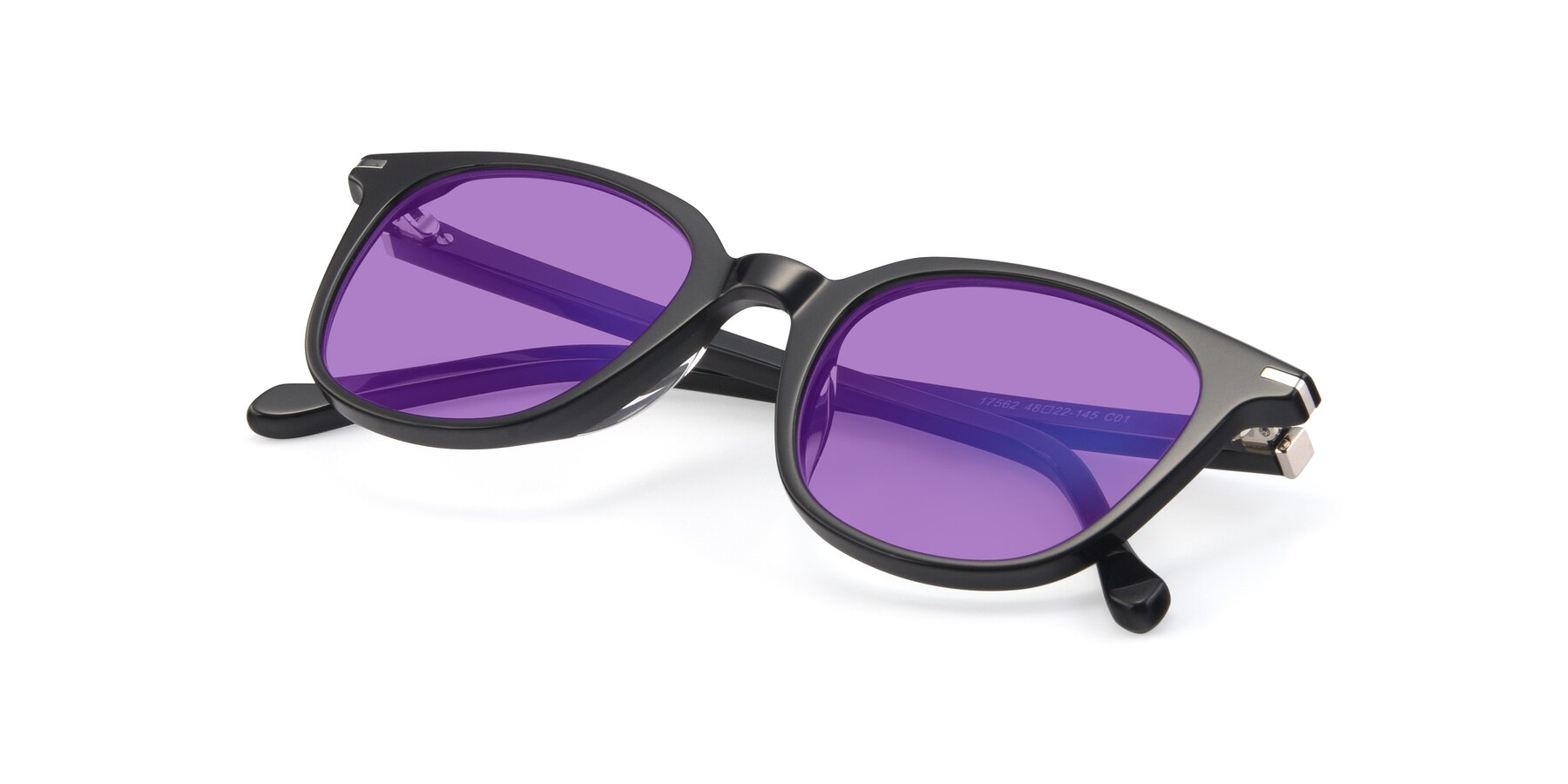 View of 17562 in Black with Medium Purple Tinted Lenses