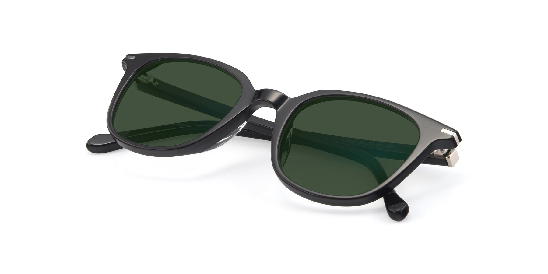 View of 17562 in Black with Green Tinted Lenses