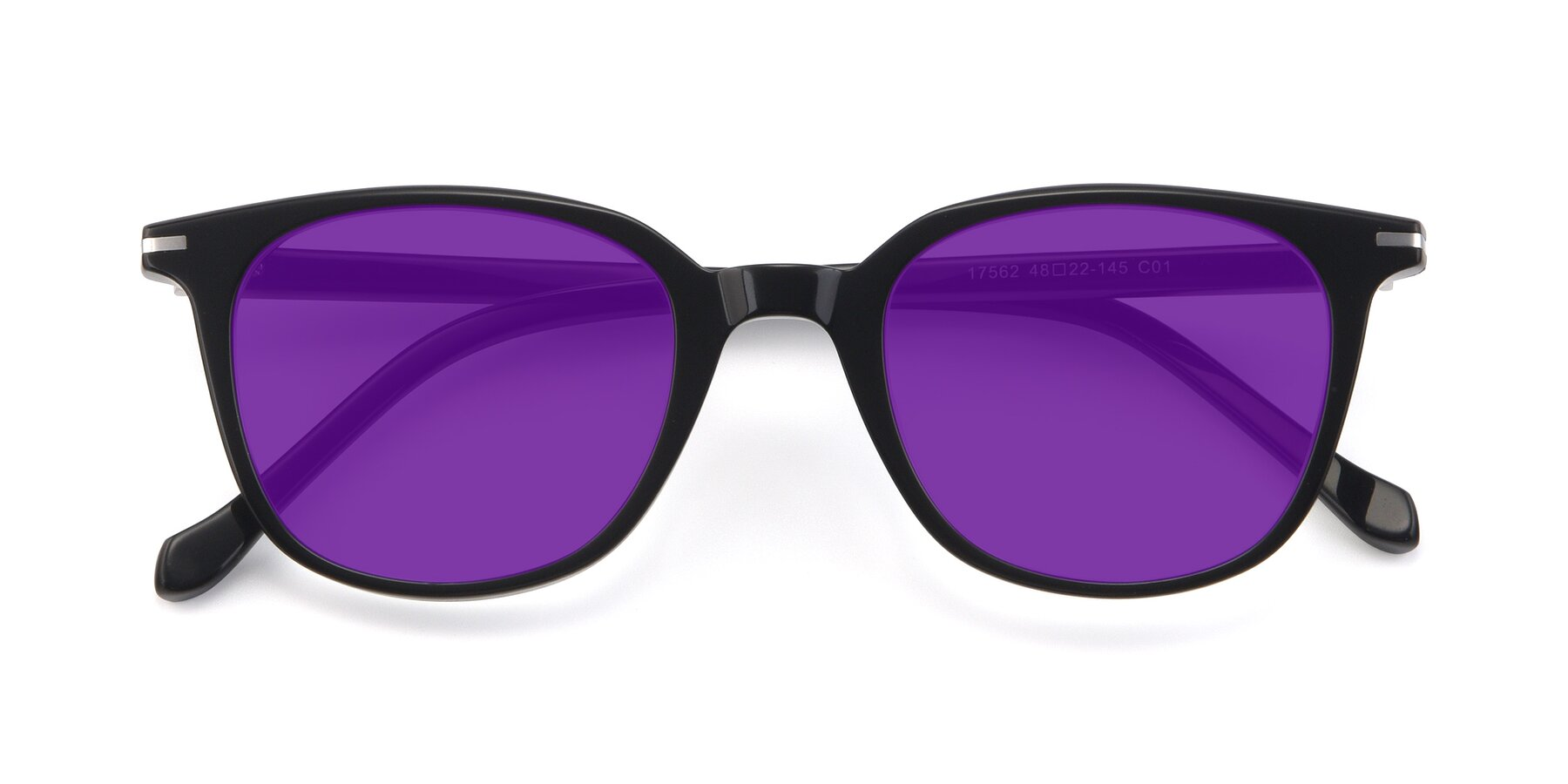 Folded Front of 17562 in Black with Purple Tinted Lenses