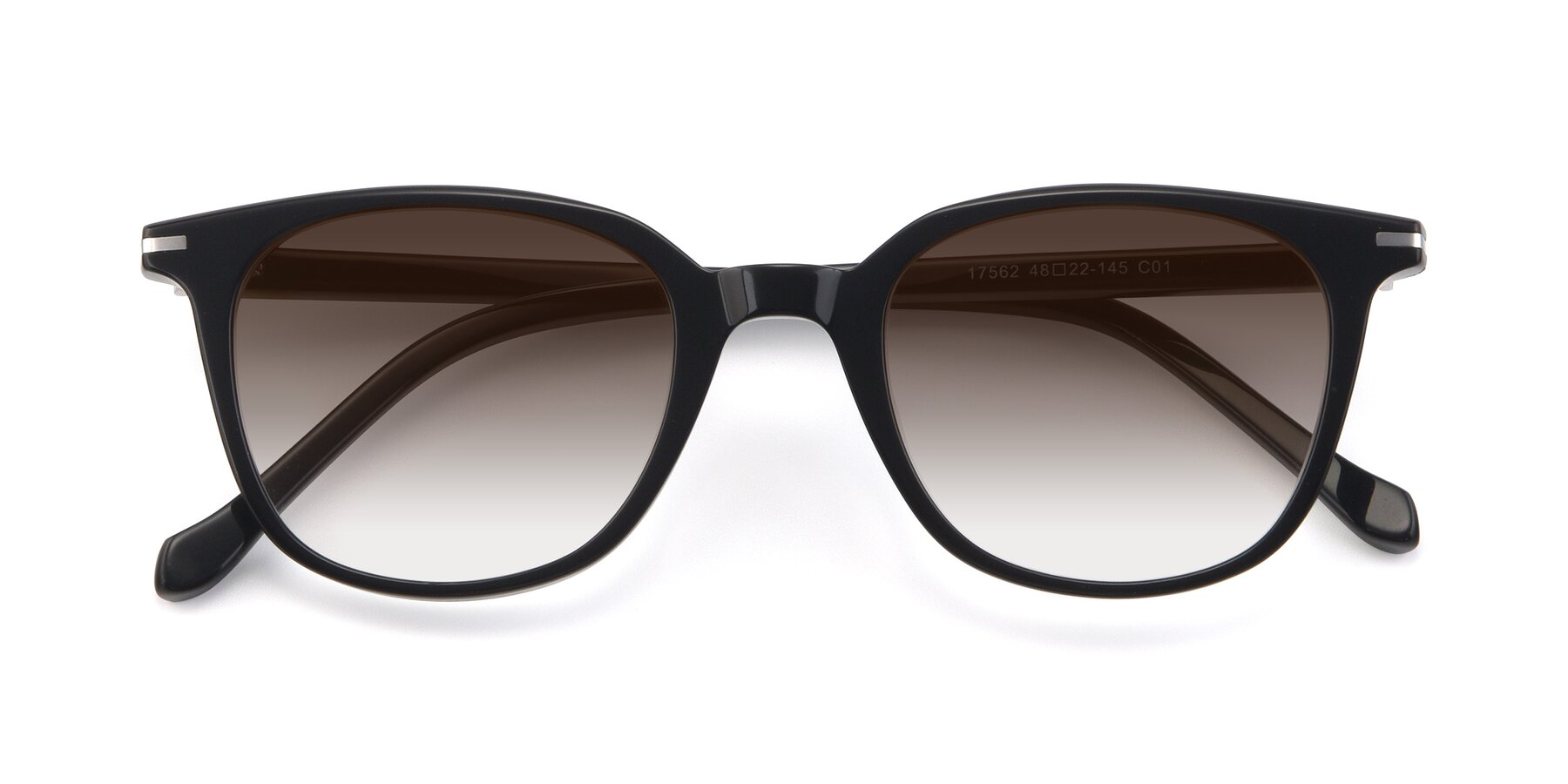 Folded Front of 17562 in Black with Brown Gradient Lenses