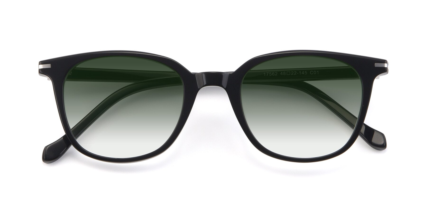 Folded Front of 17562 in Black with Green Gradient Lenses