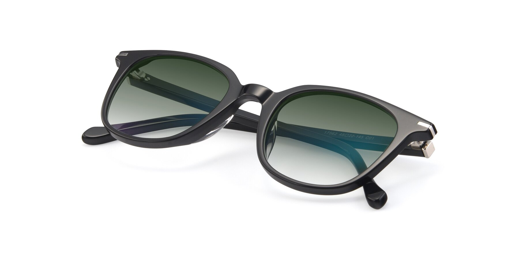 View of 17562 in Black with Green Gradient Lenses