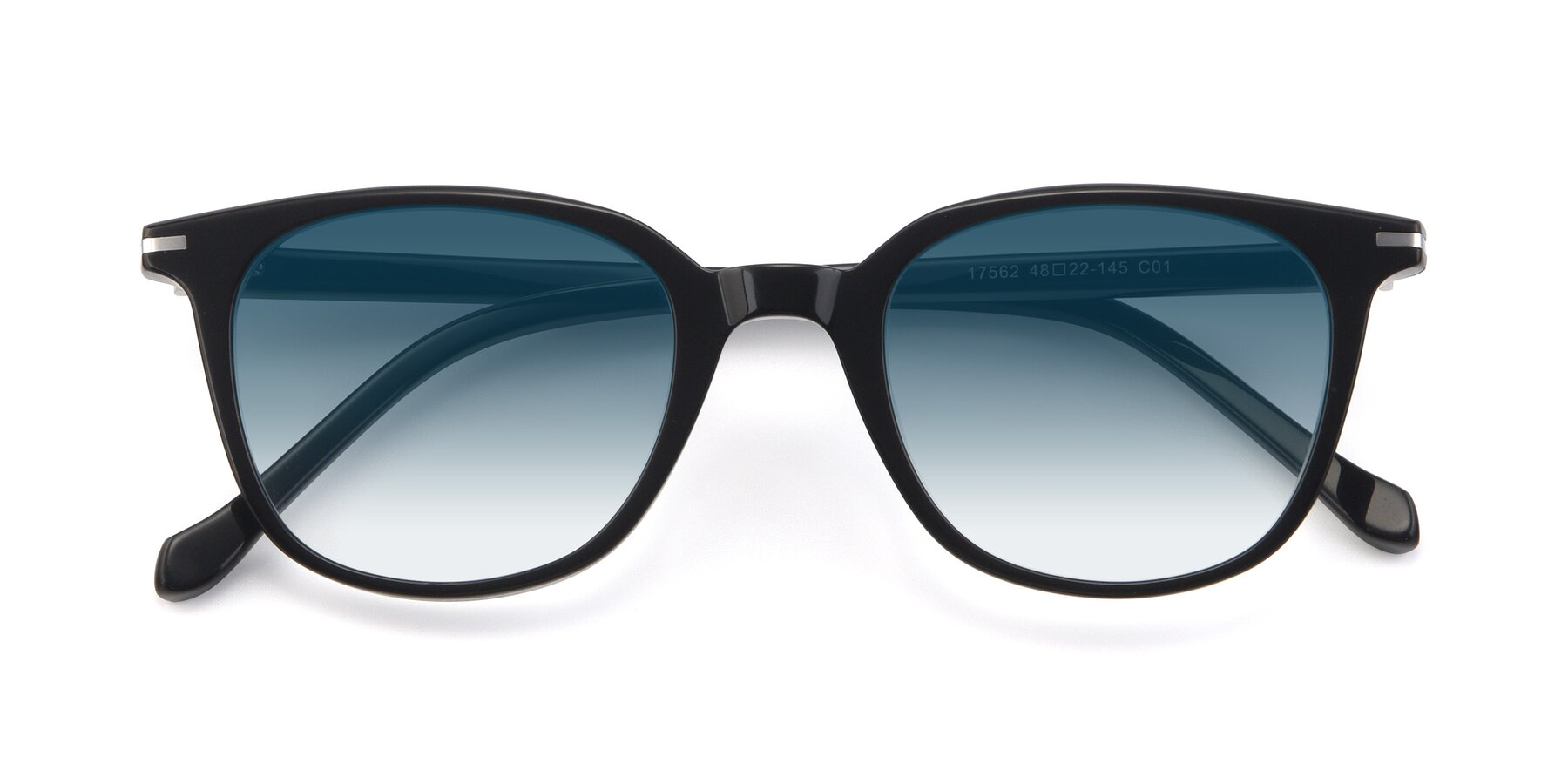 Folded Front of 17562 in Black with Blue Gradient Lenses