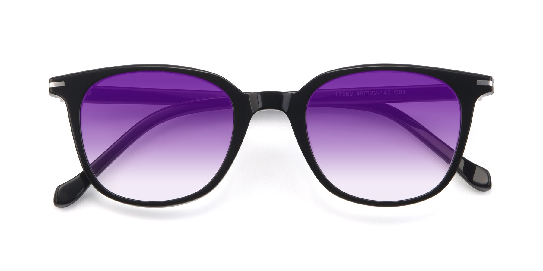 Folded Front of 17562 in Black with Purple Gradient Lenses
