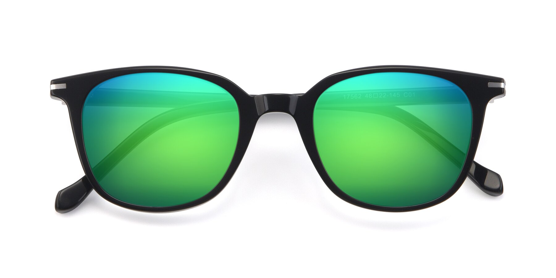 Folded Front of 17562 in Black with Green Mirrored Lenses