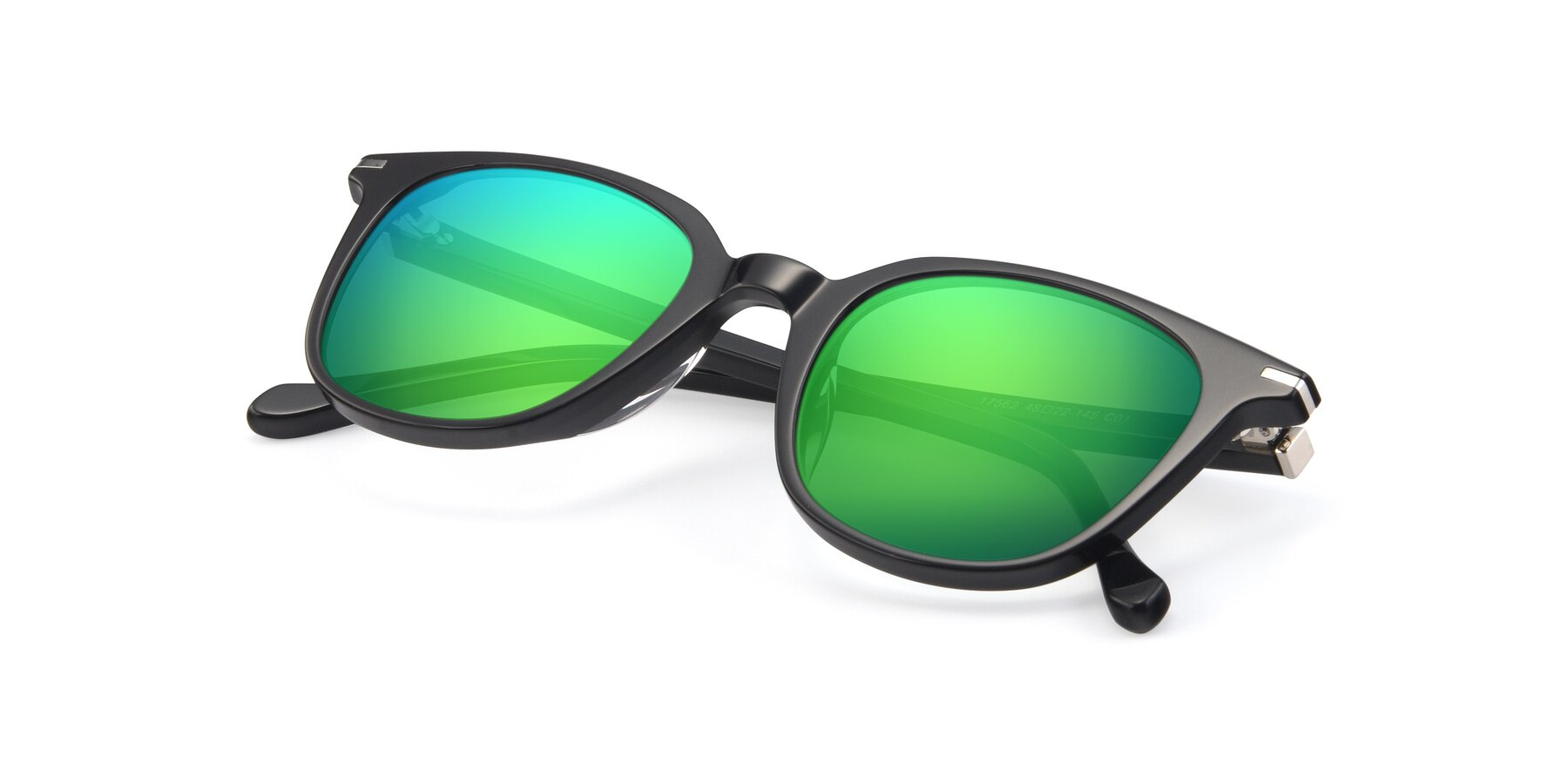 View of 17562 in Black with Green Mirrored Lenses
