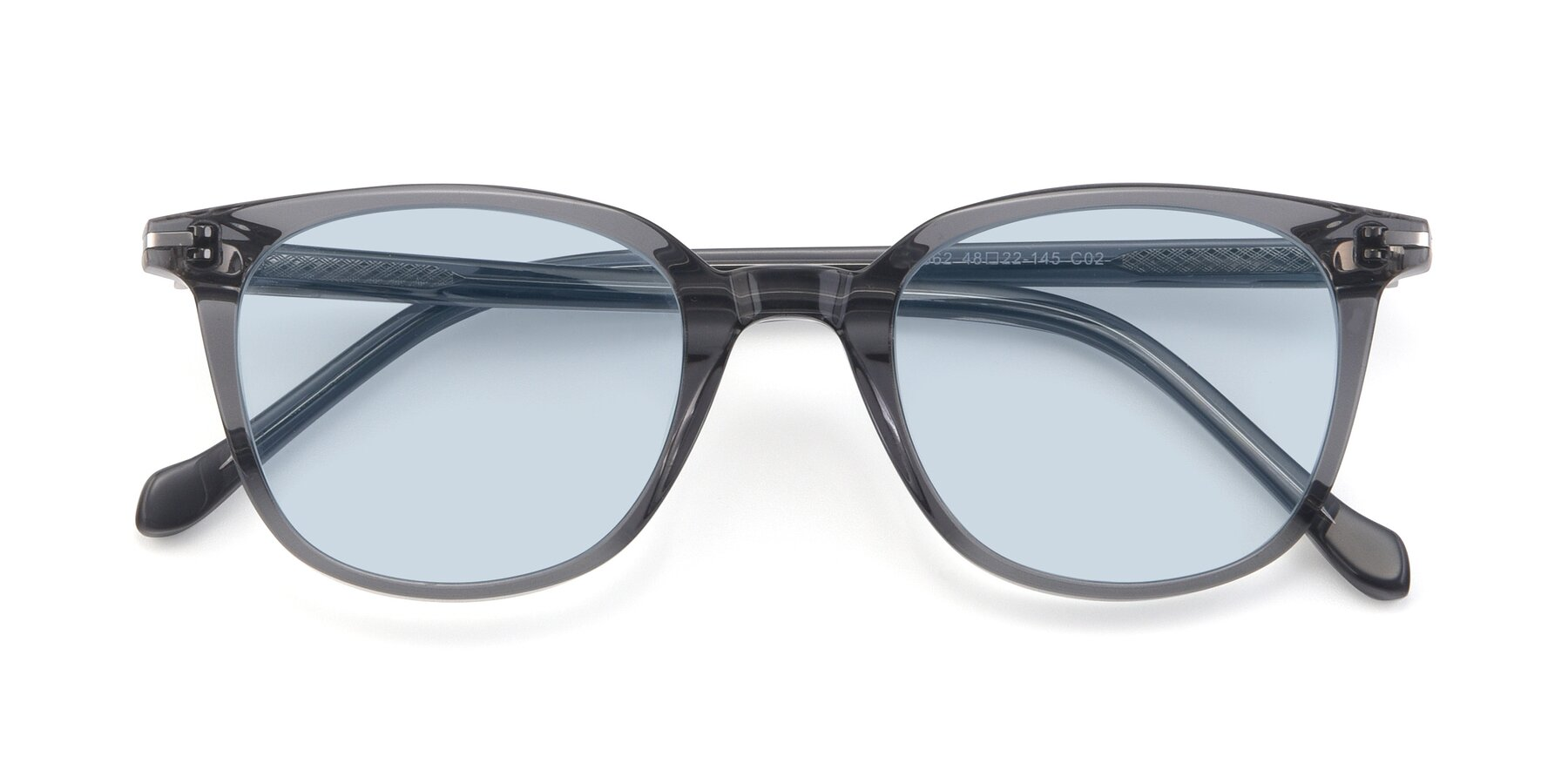 Folded Front of 17562 in Transparent Grey with Light Blue Tinted Lenses