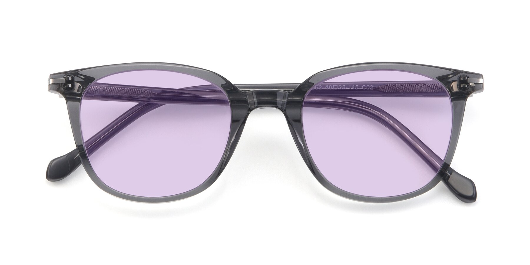 Folded Front of 17562 in Transparent Grey with Light Purple Tinted Lenses