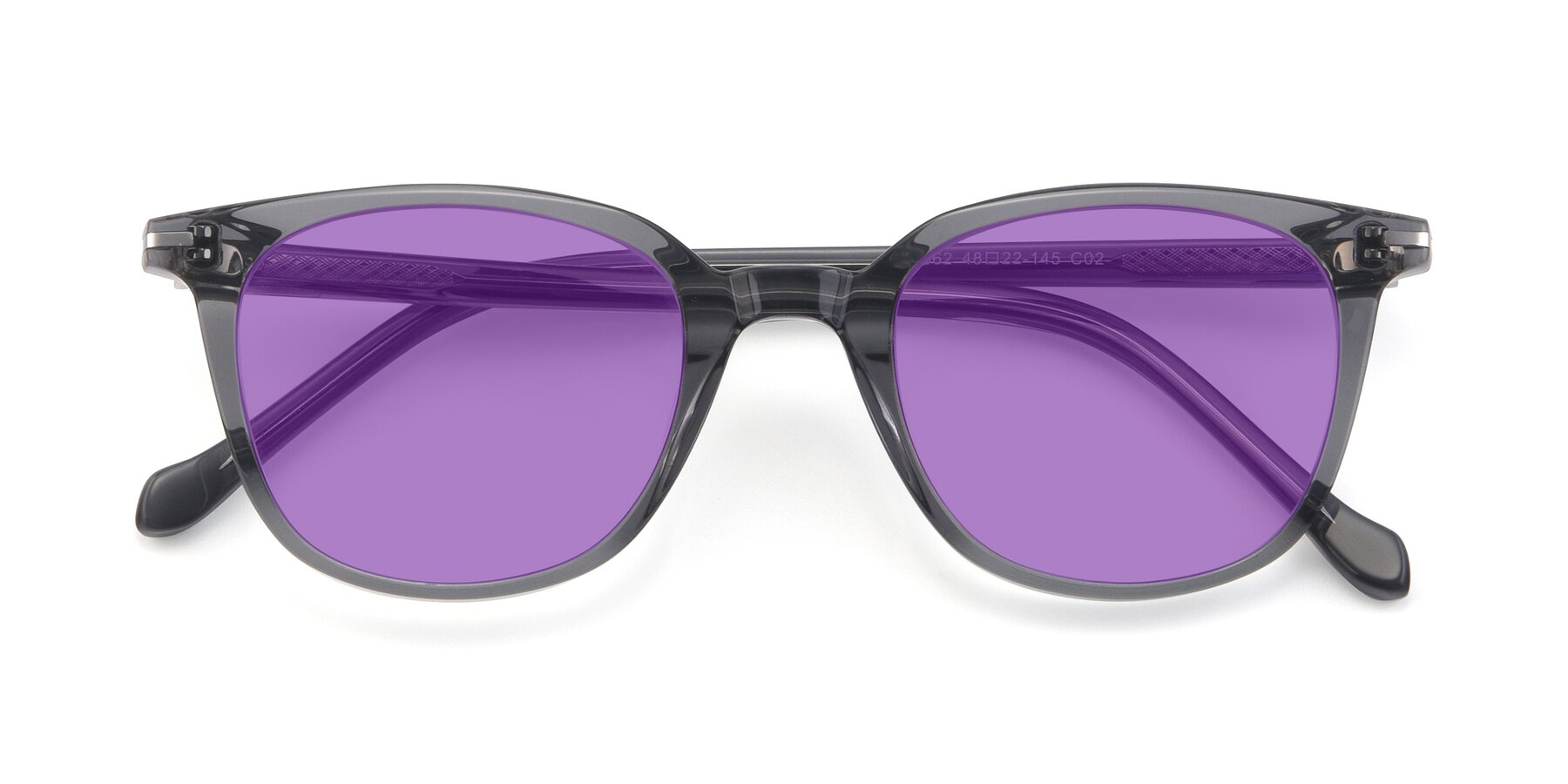 Folded Front of 17562 in Transparent Grey with Medium Purple Tinted Lenses