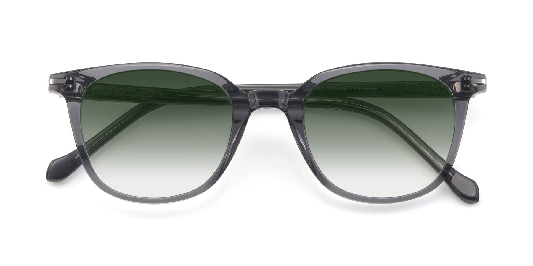 Folded Front of 17562 in Transparent Grey with Green Gradient Lenses