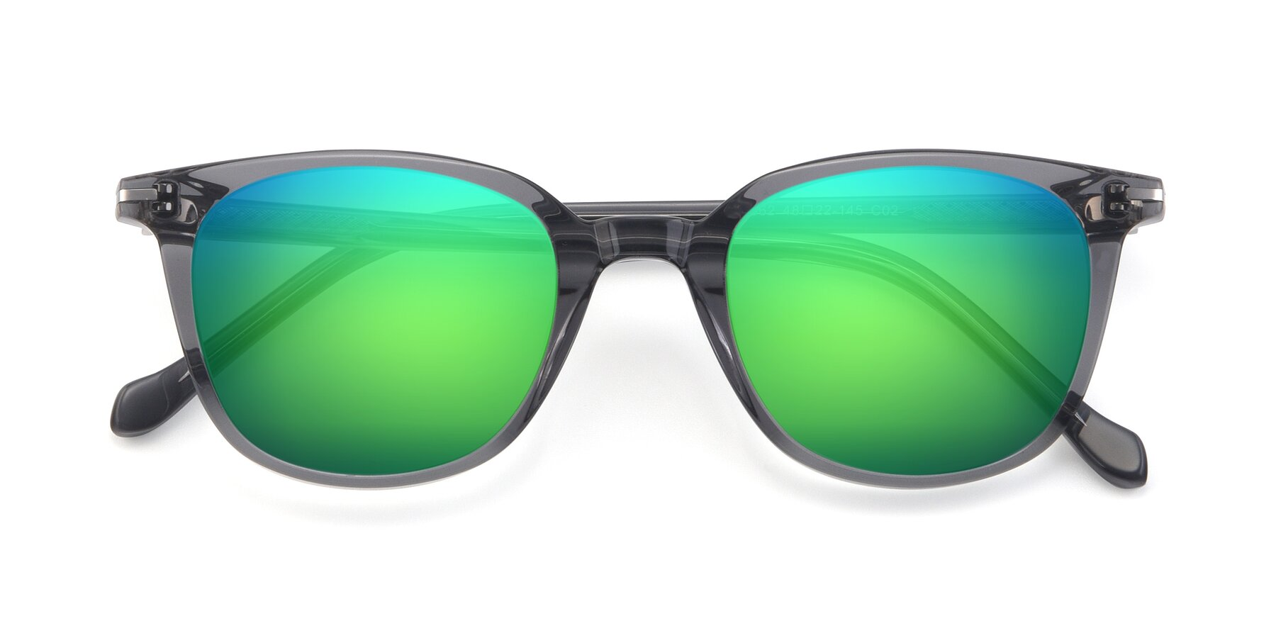 Folded Front of 17562 in Transparent Grey with Green Mirrored Lenses