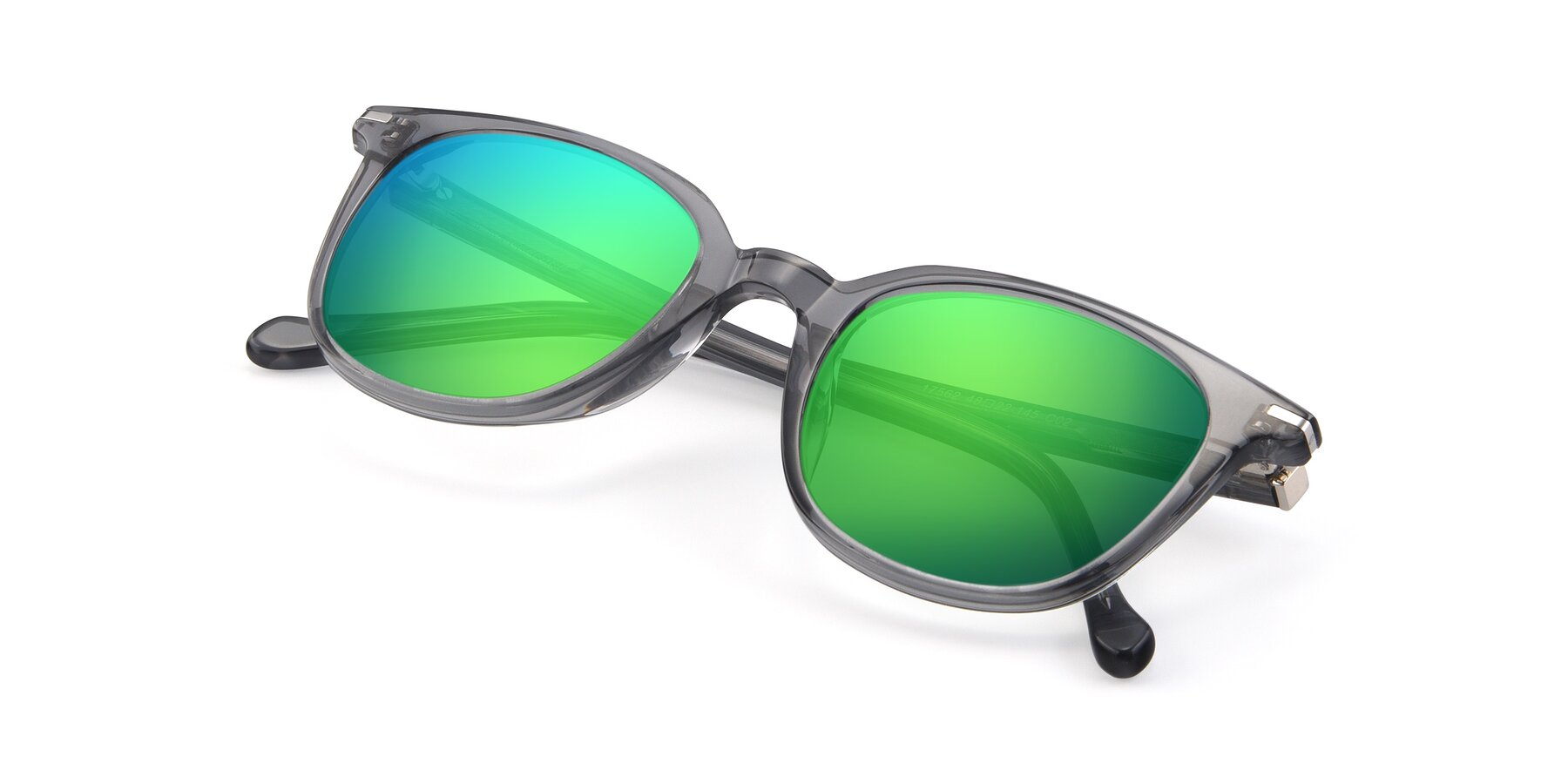 View of 17562 in Transparent Grey with Green Mirrored Lenses