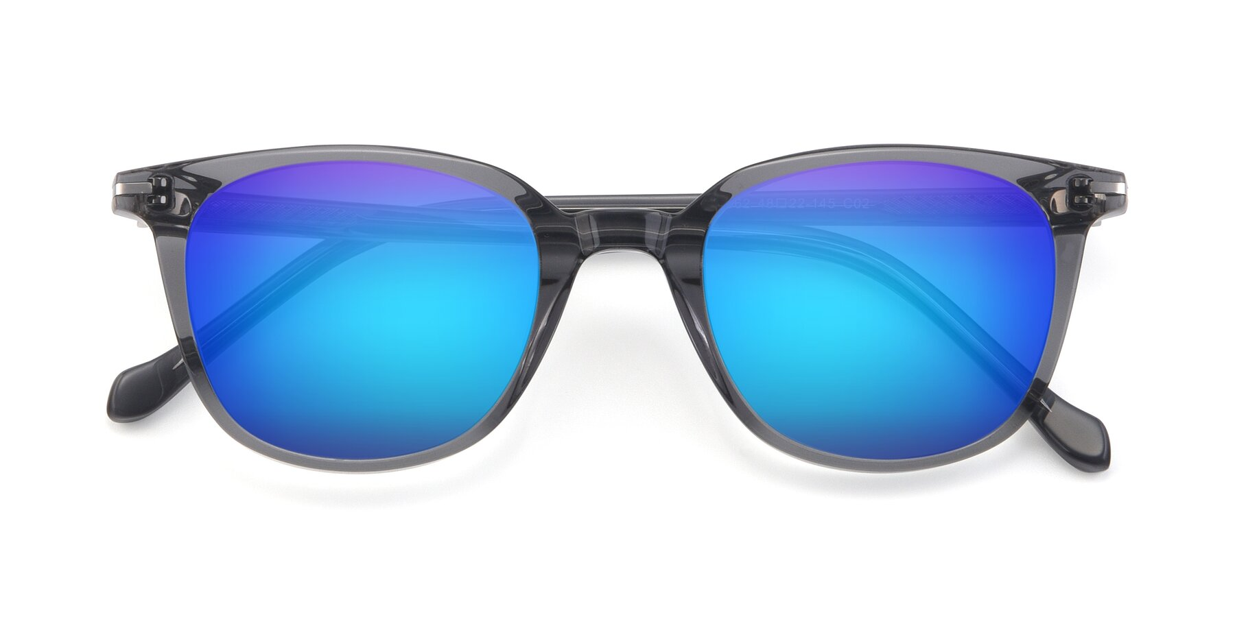 Folded Front of 17562 in Transparent Grey with Blue Mirrored Lenses