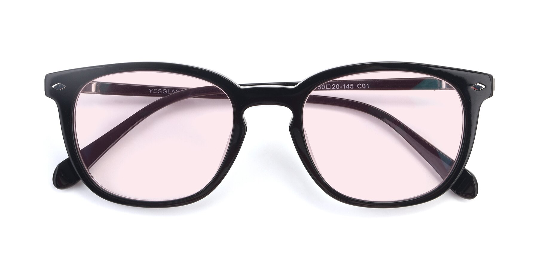 Folded Front of 17578 in Black with Light Pink Tinted Lenses