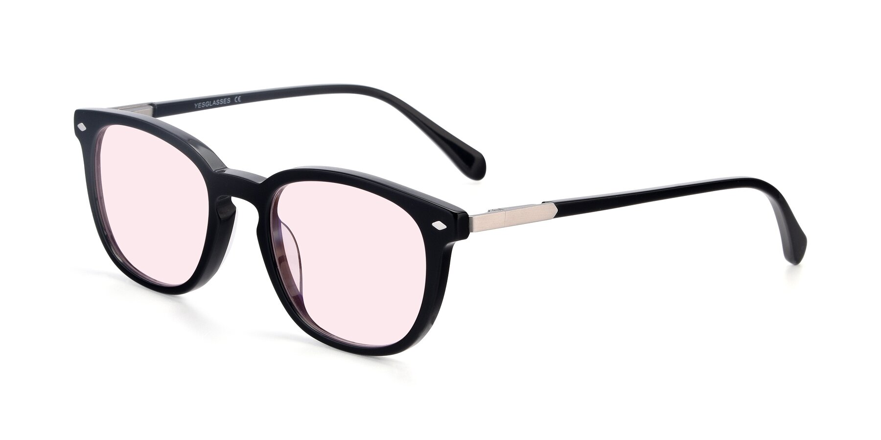 Angle of 17578 in Black with Light Pink Tinted Lenses