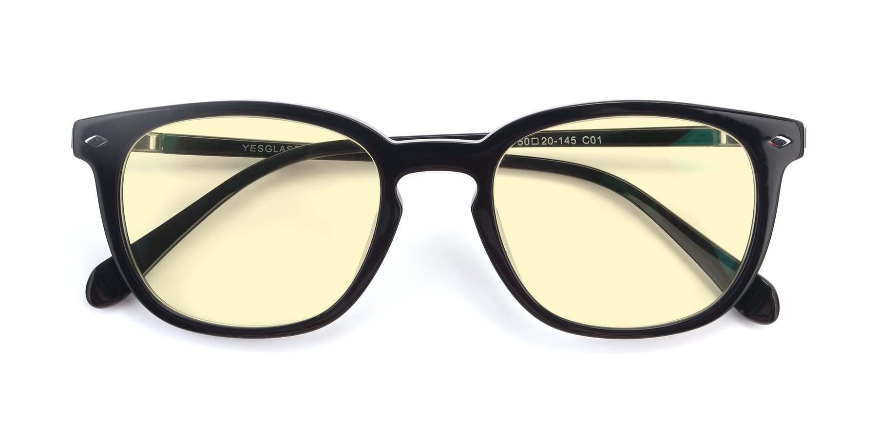 Folded Front of 17578 in Black with Light Yellow Tinted Lenses