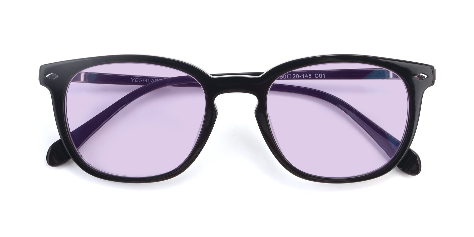 Folded Front of 17578 in Black with Light Purple Tinted Lenses