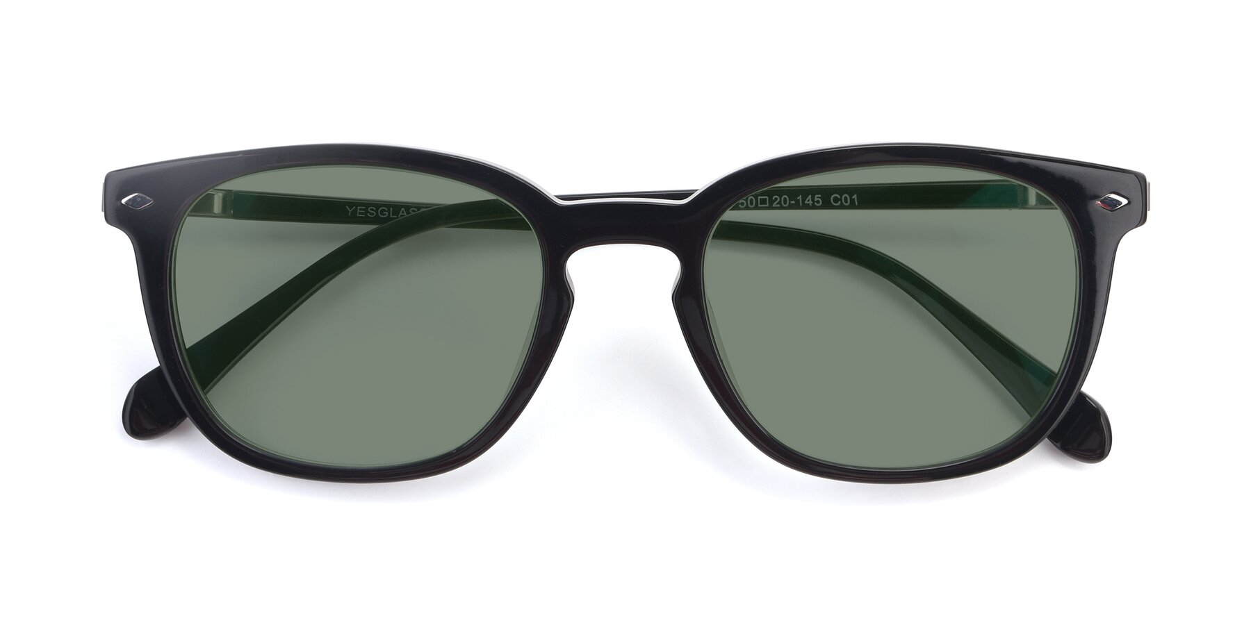 Folded Front of 17578 in Black with Medium Green Tinted Lenses