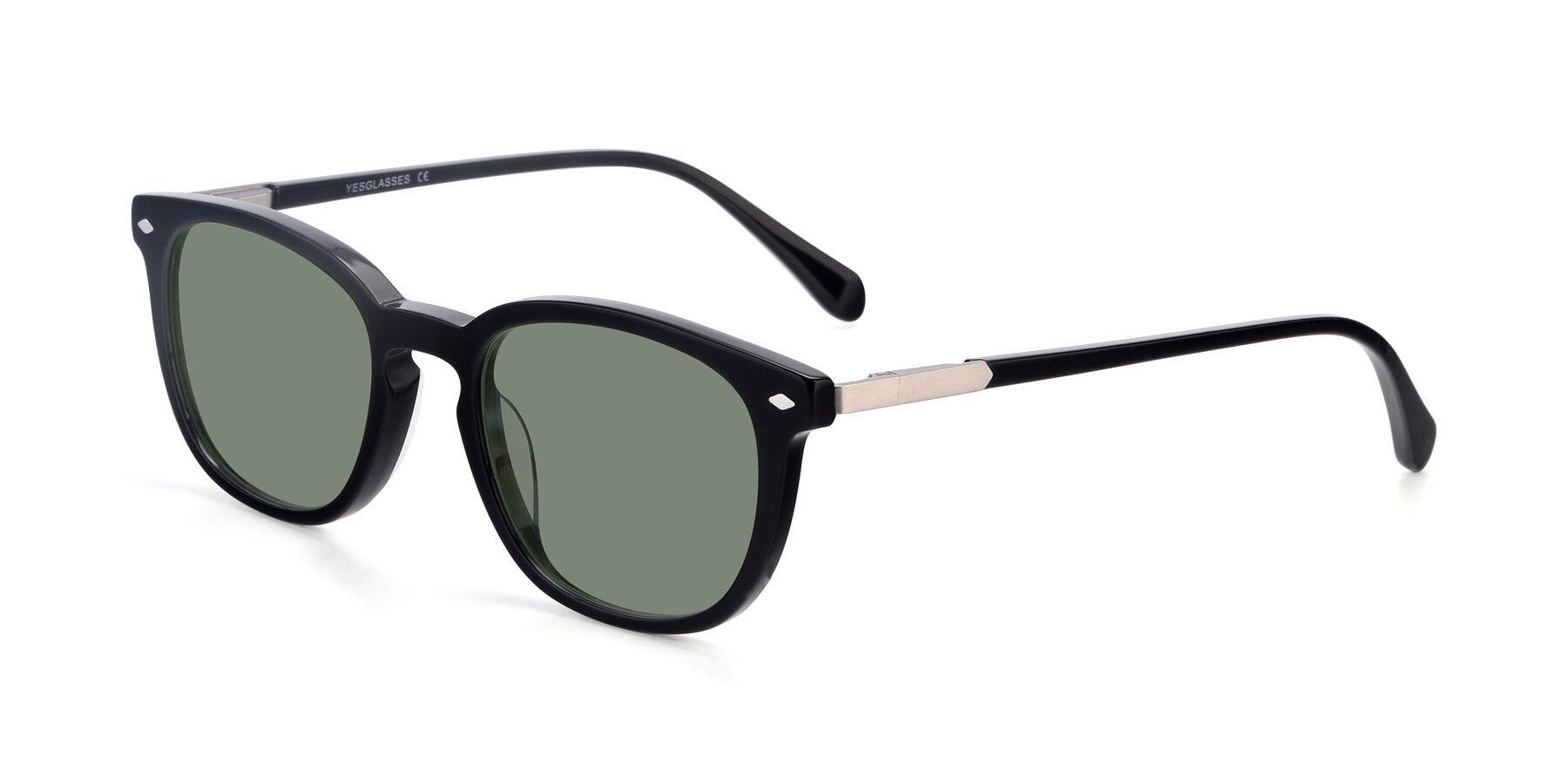 Angle of 17578 in Black with Medium Green Tinted Lenses