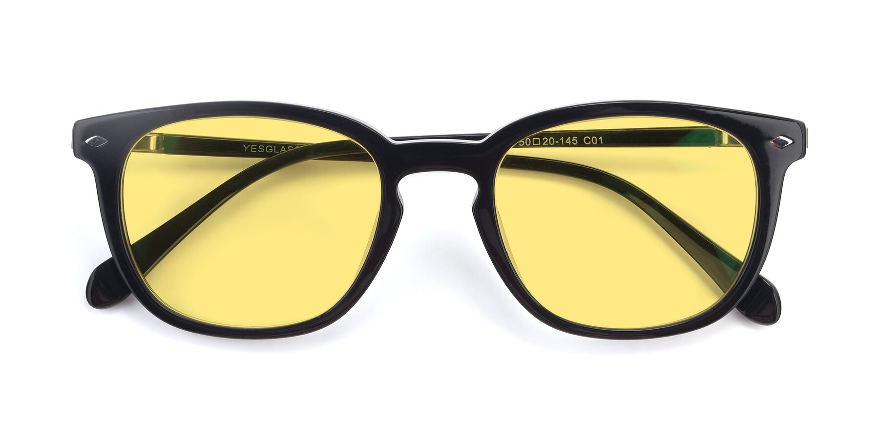 Folded Front of 17578 in Black with Medium Yellow Tinted Lenses