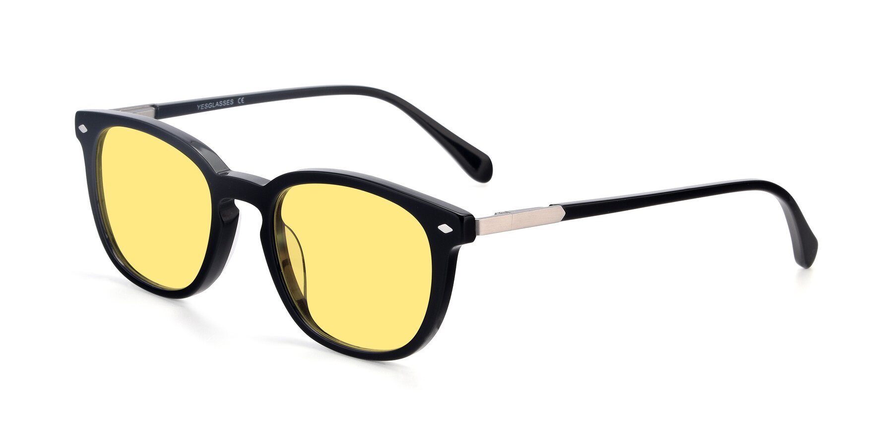 Angle of 17578 in Black with Medium Yellow Tinted Lenses