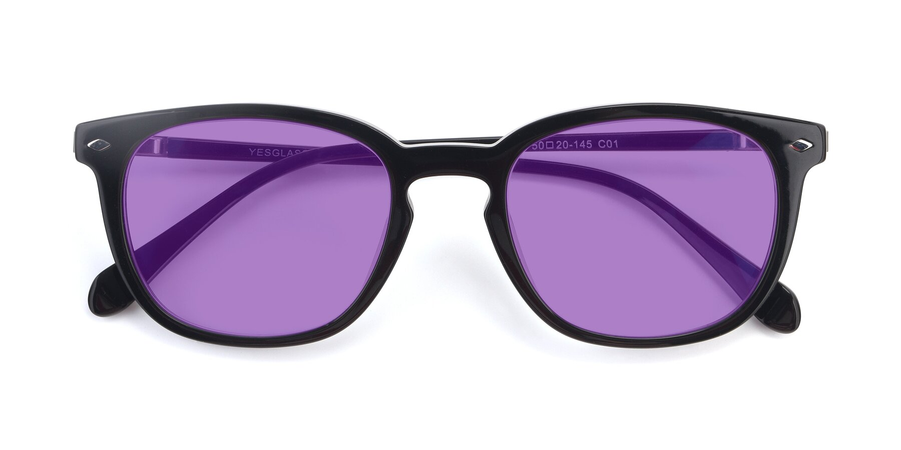 Folded Front of 17578 in Black with Medium Purple Tinted Lenses