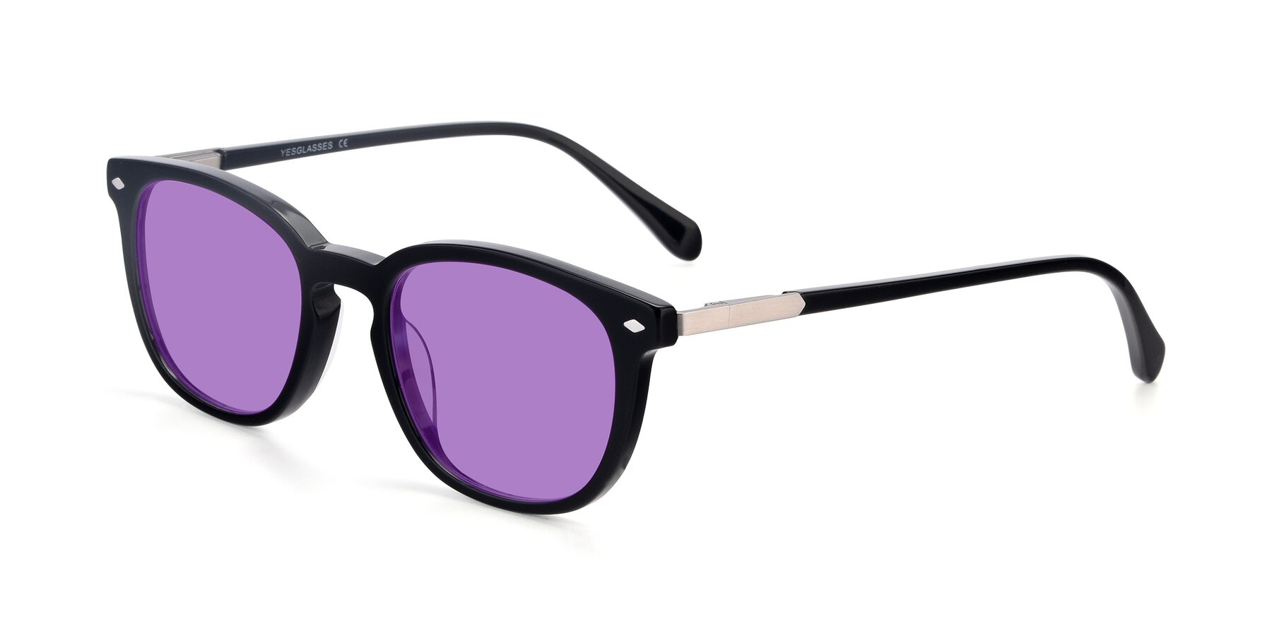 Angle of 17578 in Black with Medium Purple Tinted Lenses
