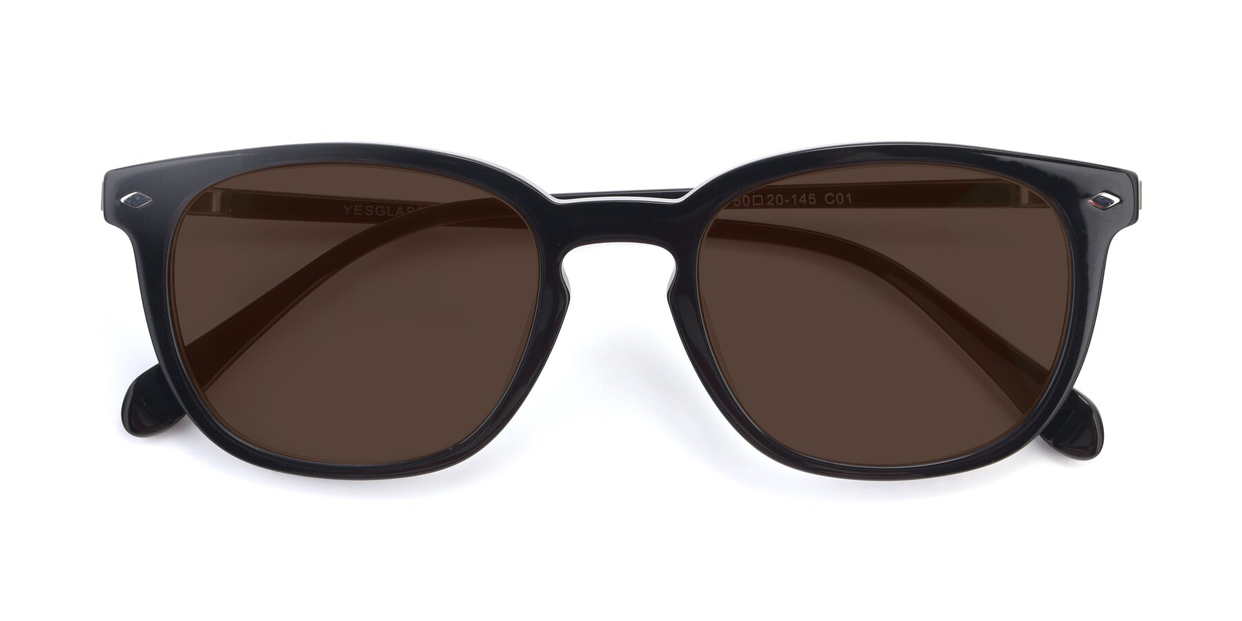 Folded Front of 17578 in Black with Brown Tinted Lenses