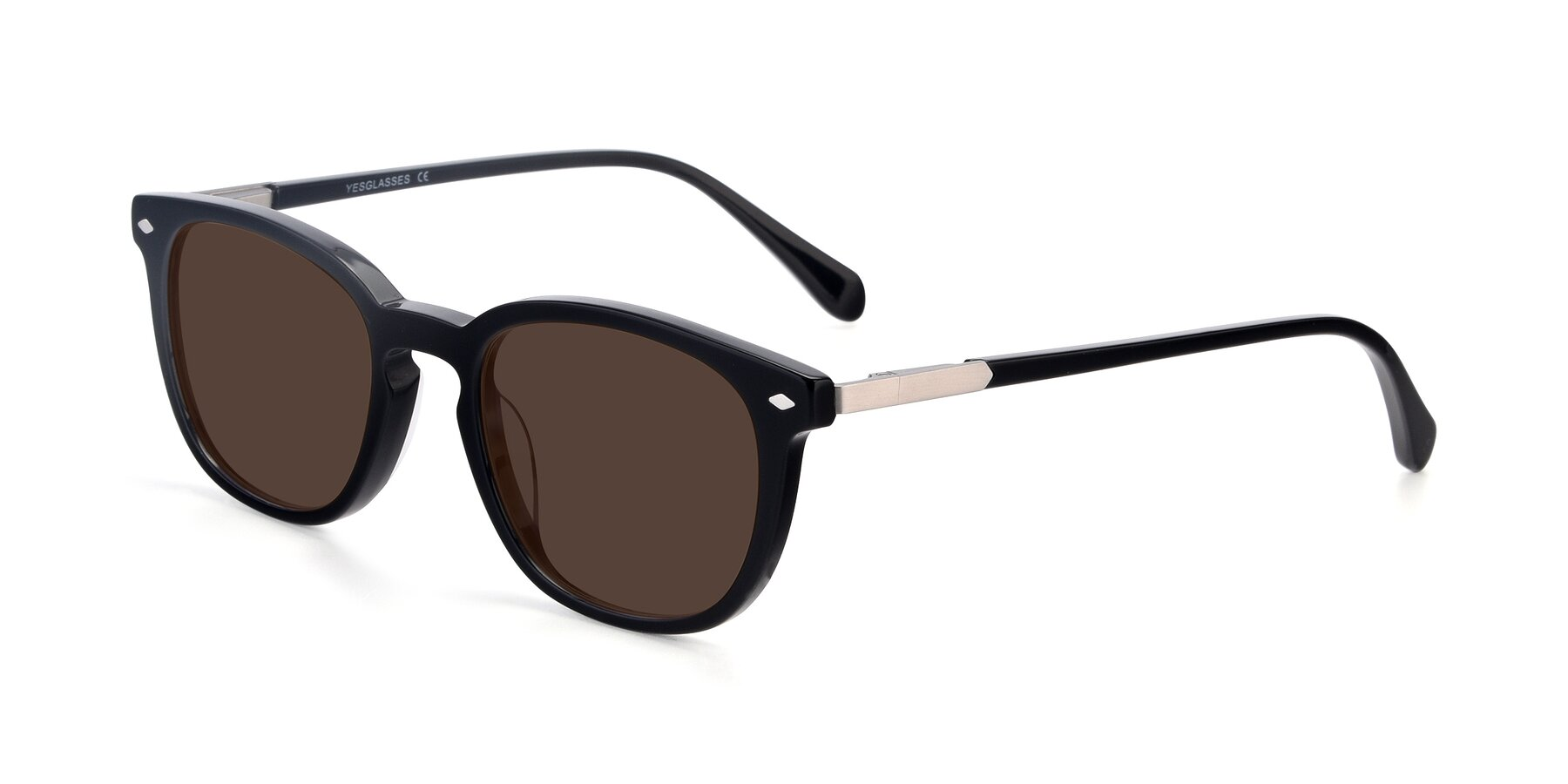 Angle of 17578 in Black with Brown Tinted Lenses