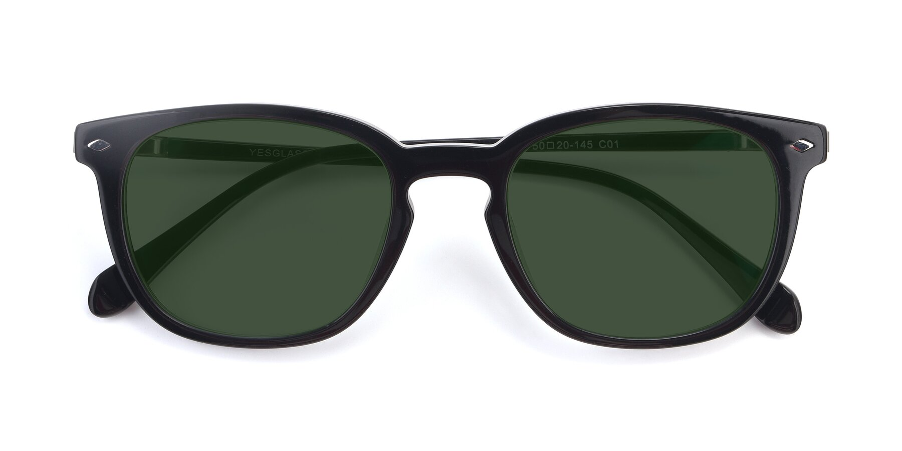 Folded Front of 17578 in Black with Green Tinted Lenses