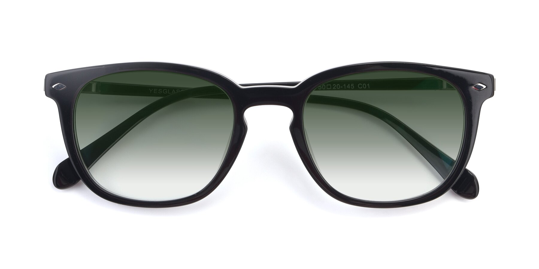 Folded Front of 17578 in Black with Green Gradient Lenses
