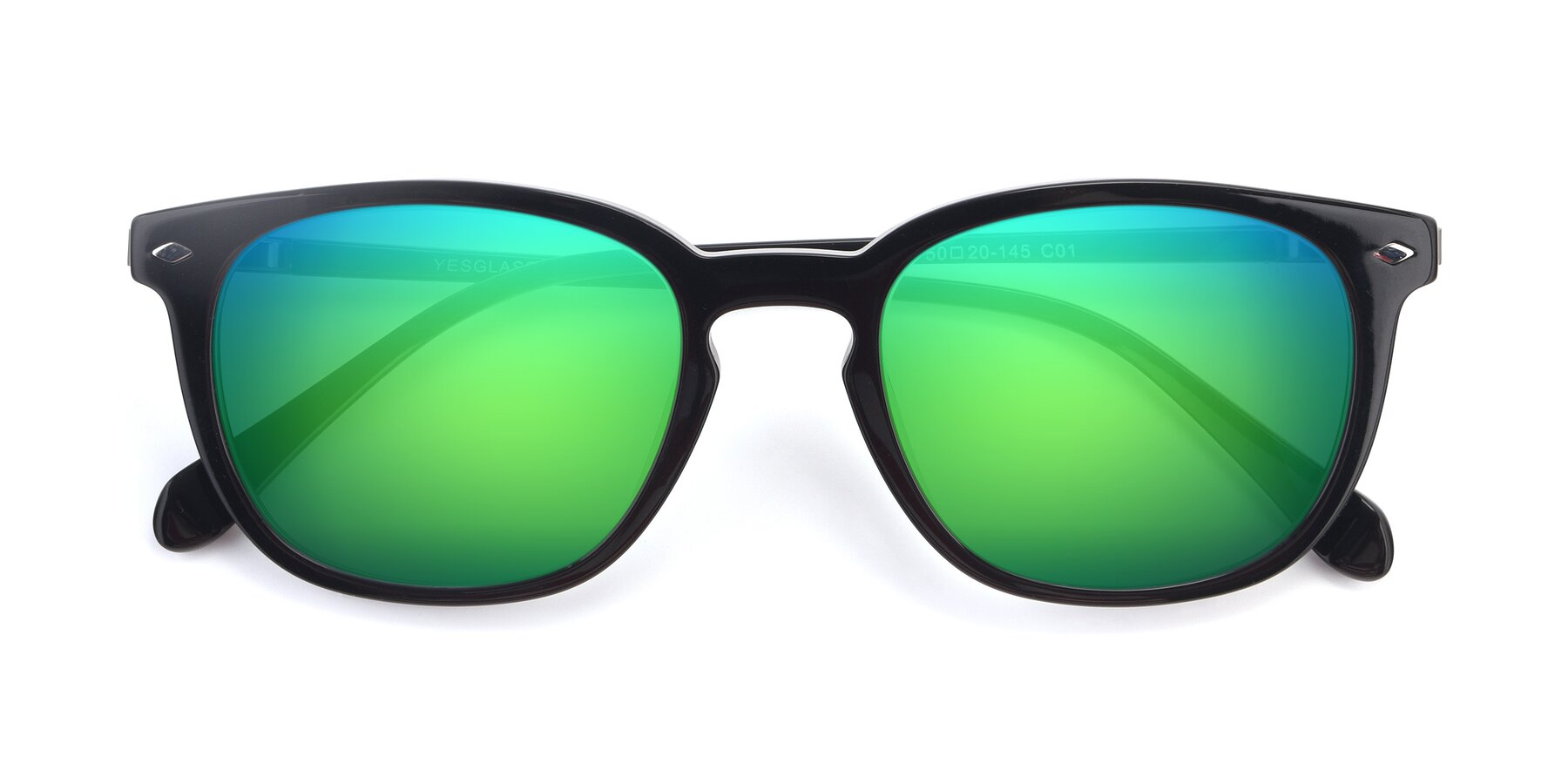 Folded Front of 17578 in Black with Green Mirrored Lenses