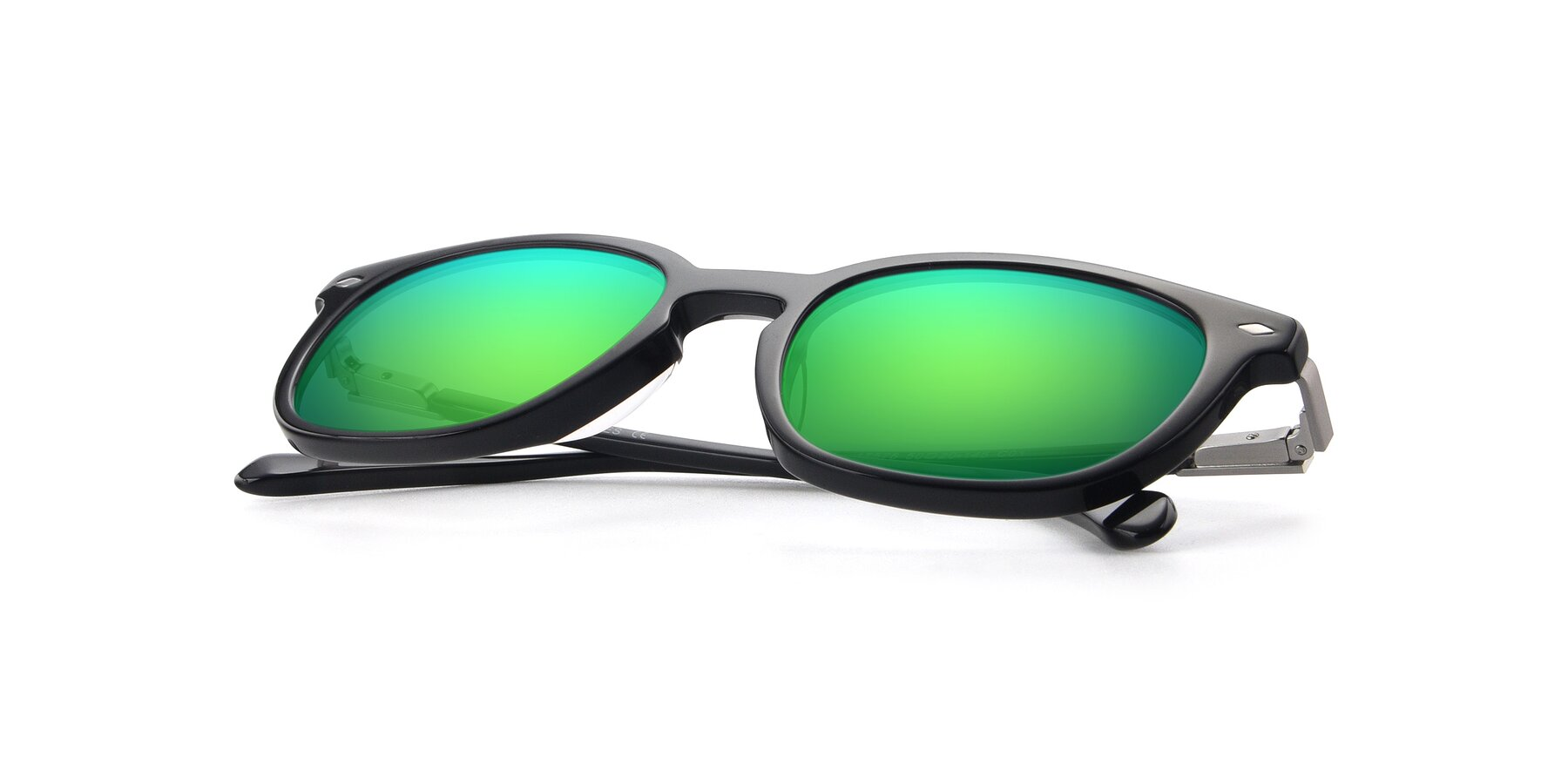 View of 17578 in Black with Green Mirrored Lenses