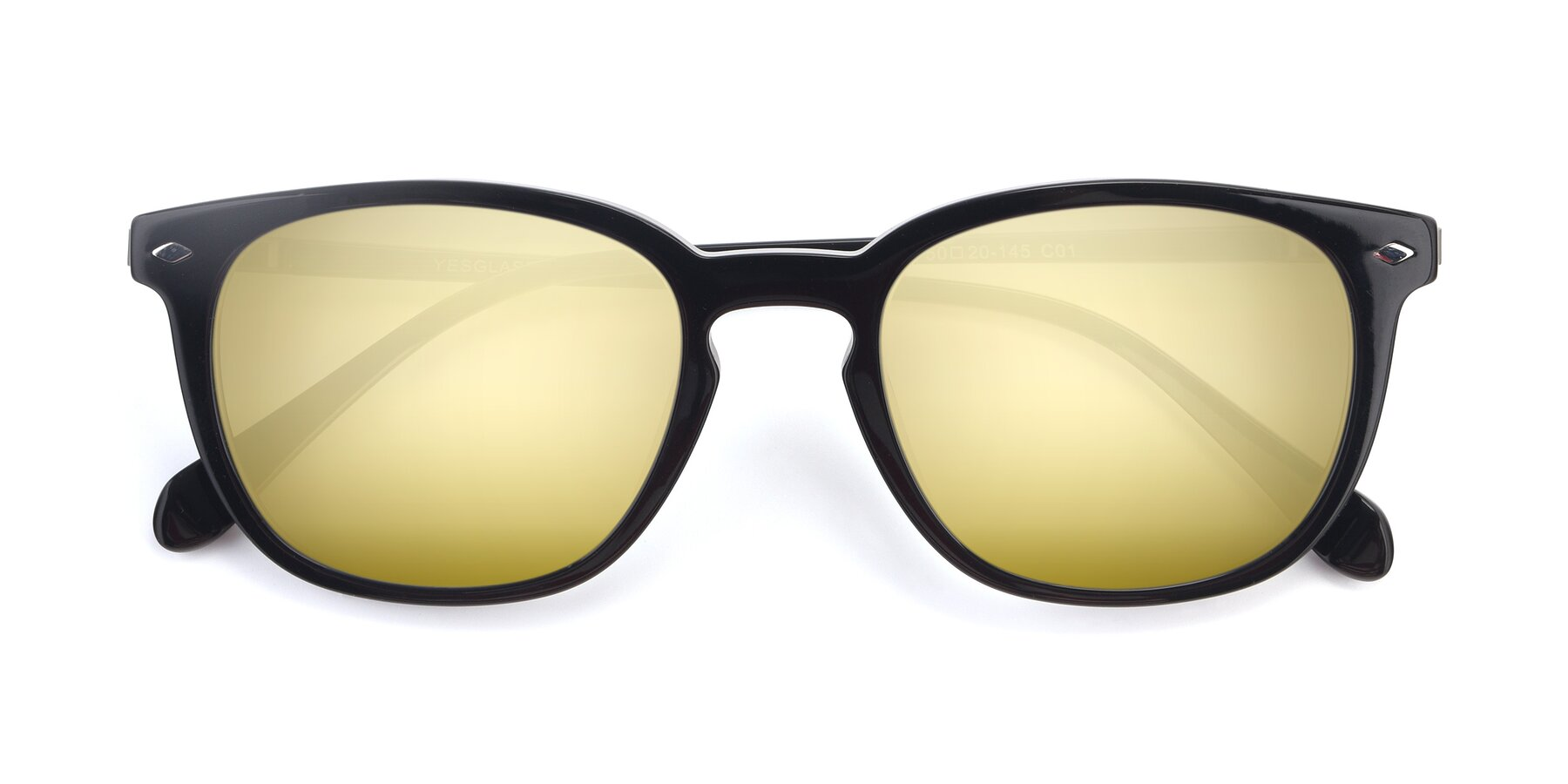 Folded Front of 17578 in Black with Gold Mirrored Lenses