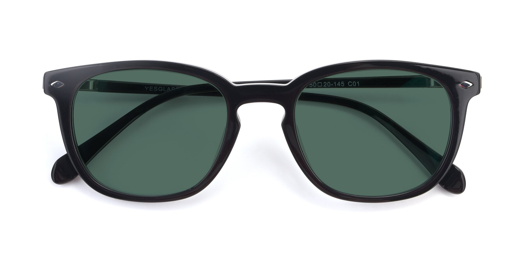 Folded Front of 17578 in Black with Green Polarized Lenses
